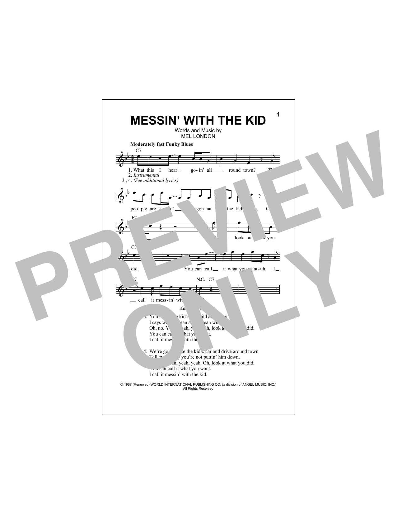 Messin' With The Kid Sheet Music
