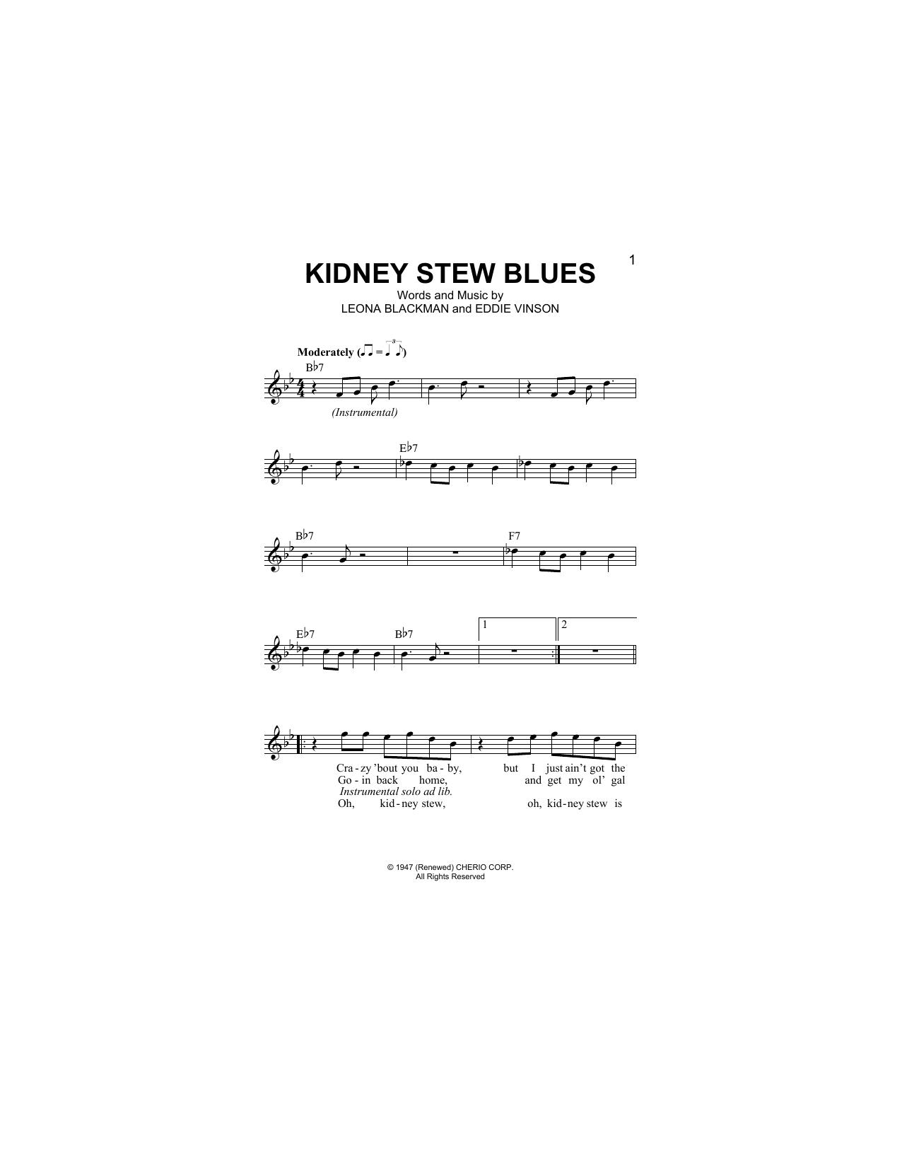Kidney Stew Blues (Lead Sheet / Fake Book)