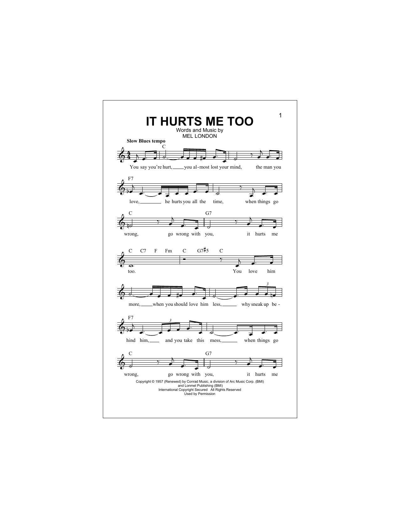 It Hurts Me Too Sheet Music
