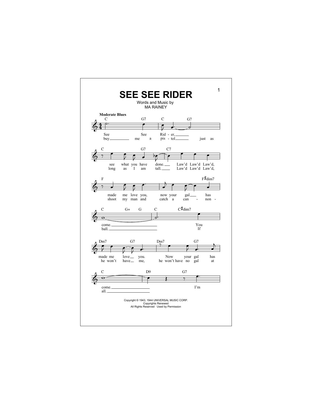 See See Rider Digitale Noten