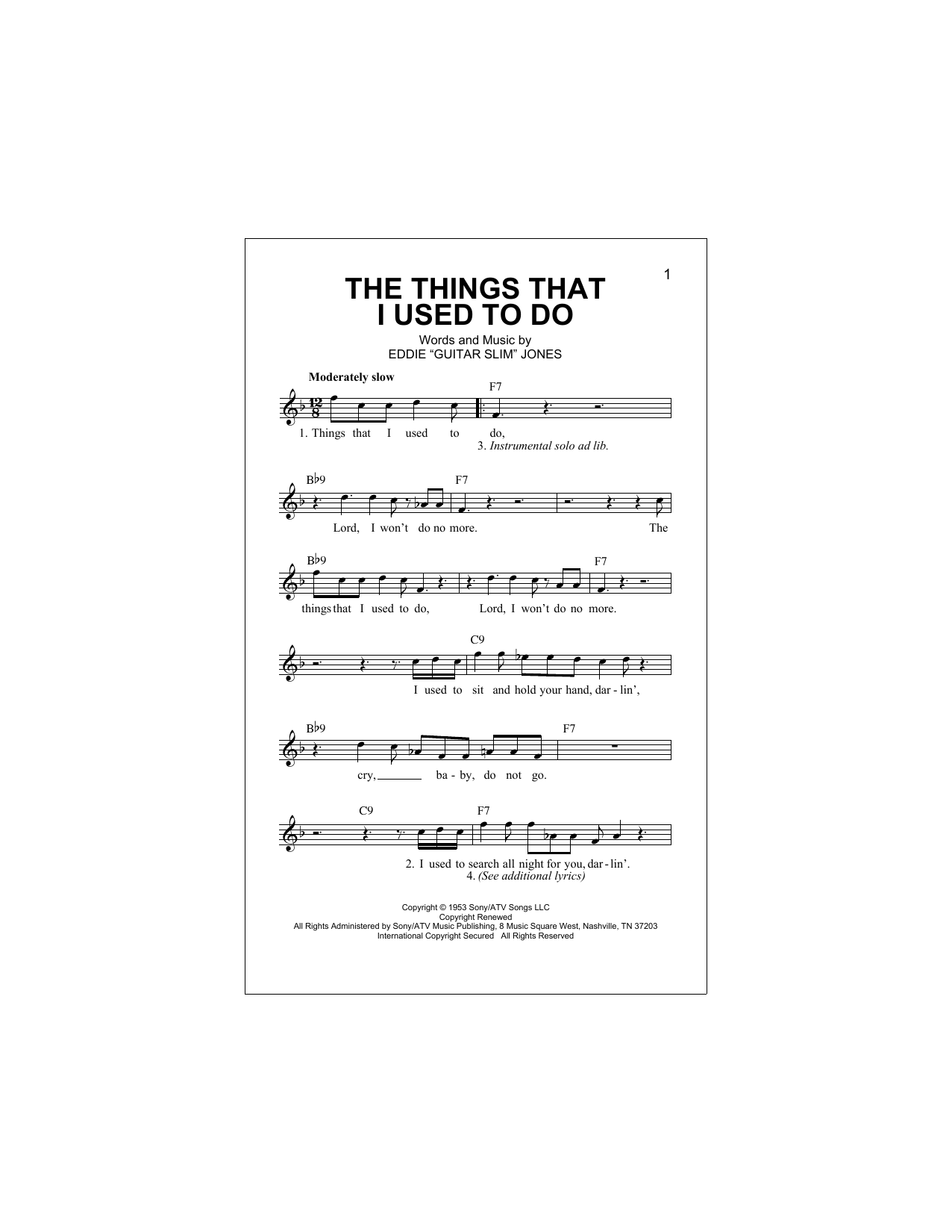 The Things That I Used To Do Sheet Music