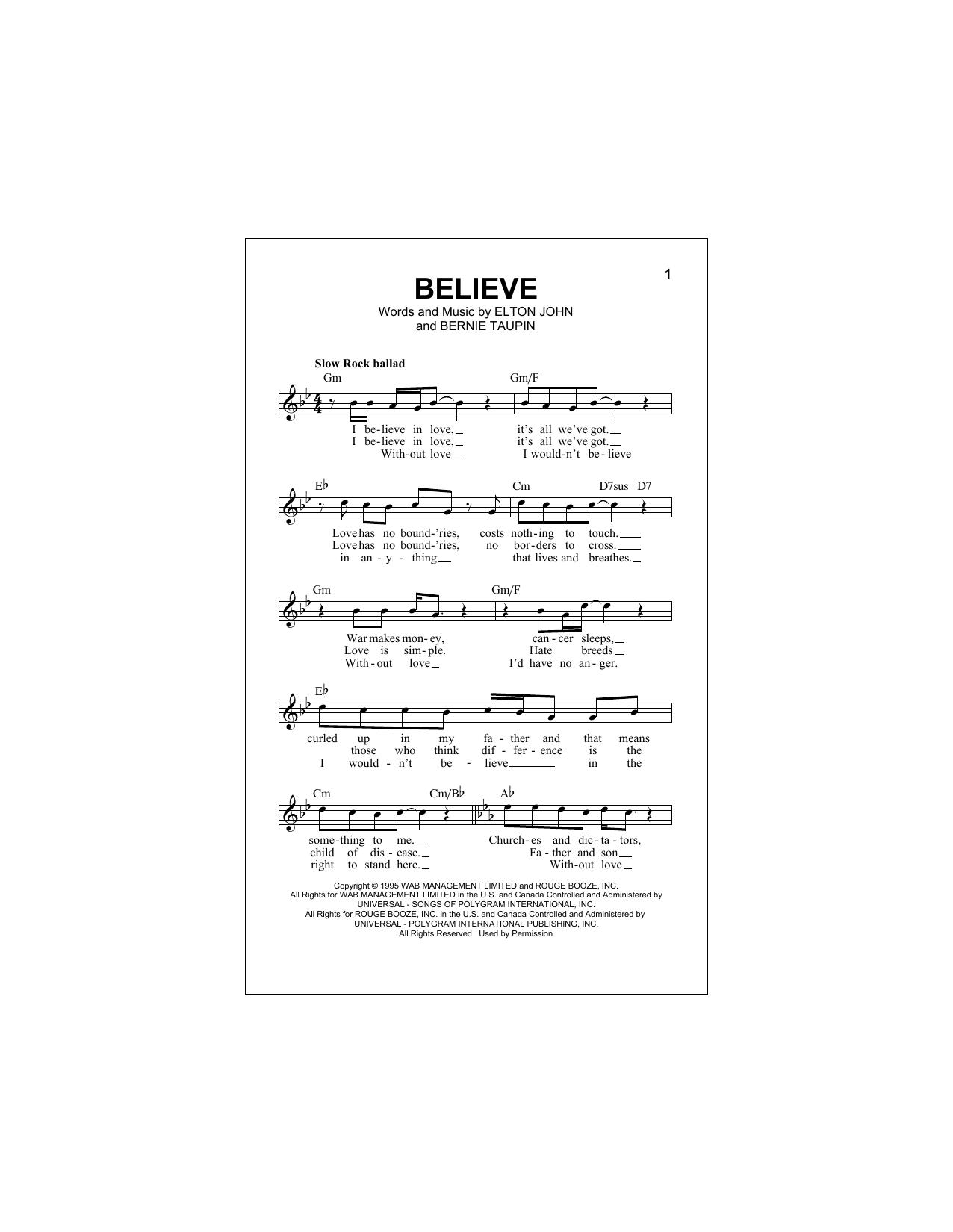 Believe (Lead Sheet / Fake Book)