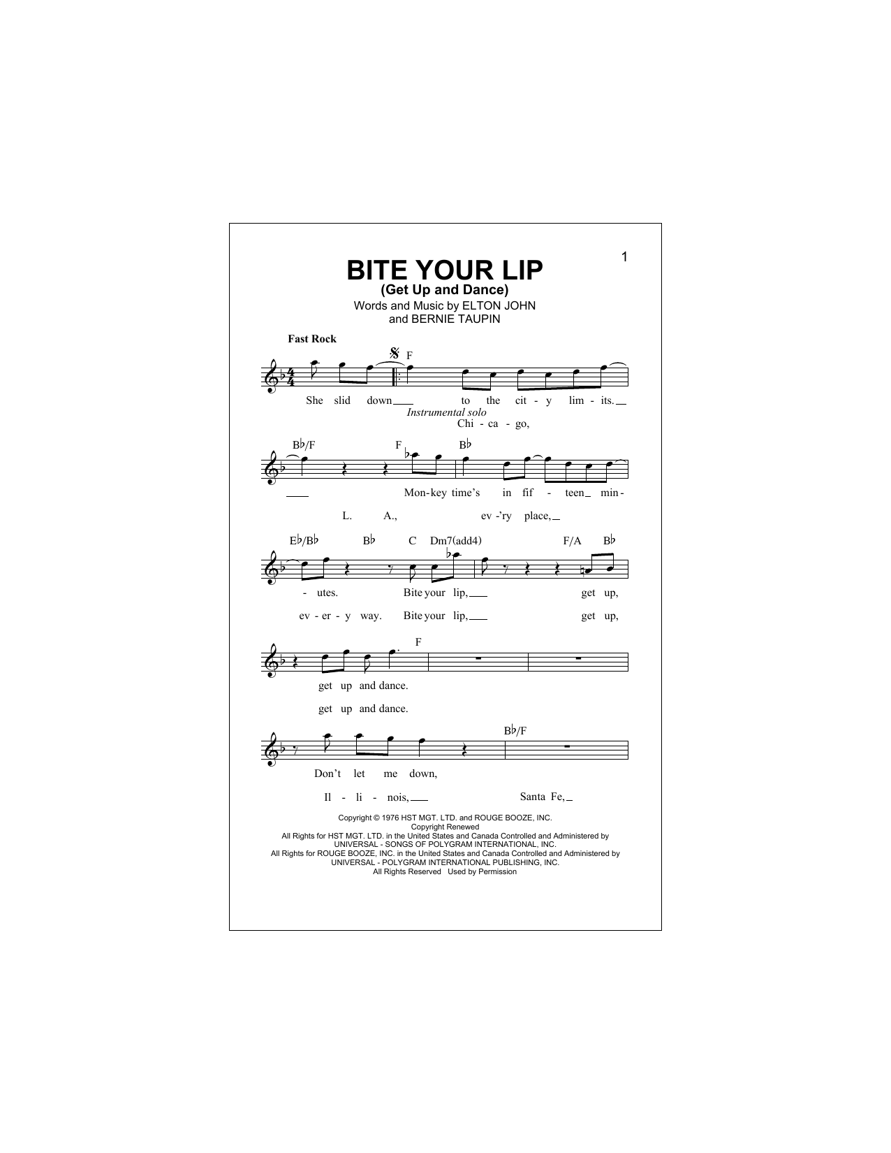 Bite Your Lip (Get Up And Dance) Sheet Music