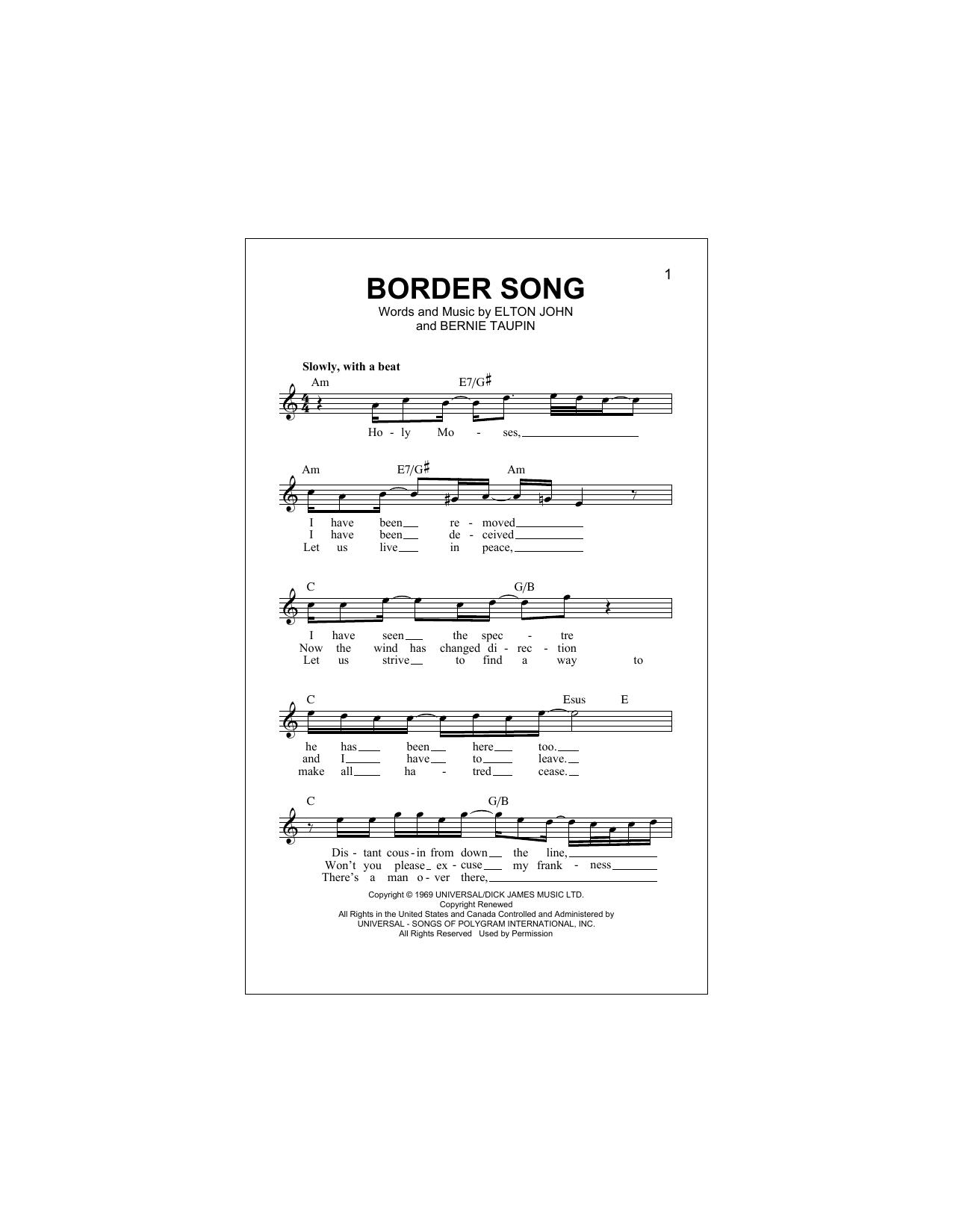 Border Song Sheet Music