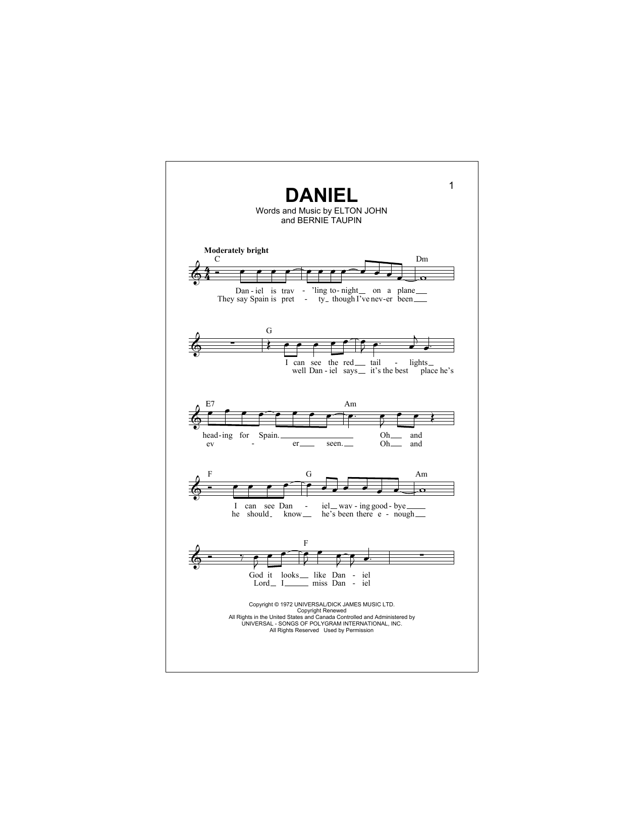 Daniel (Lead Sheet / Fake Book)