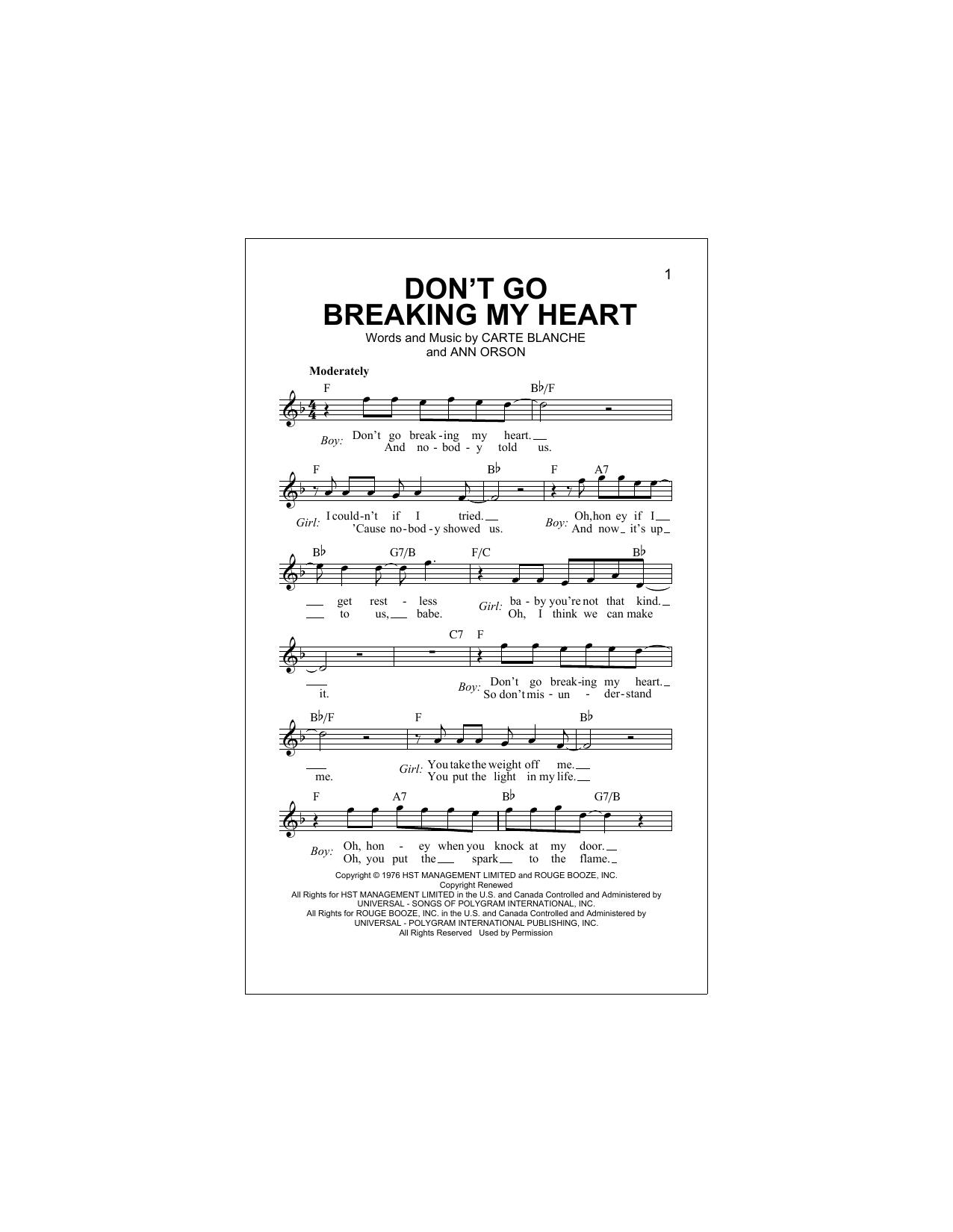 Don't Go Breaking My Heart (Lead Sheet / Fake Book)