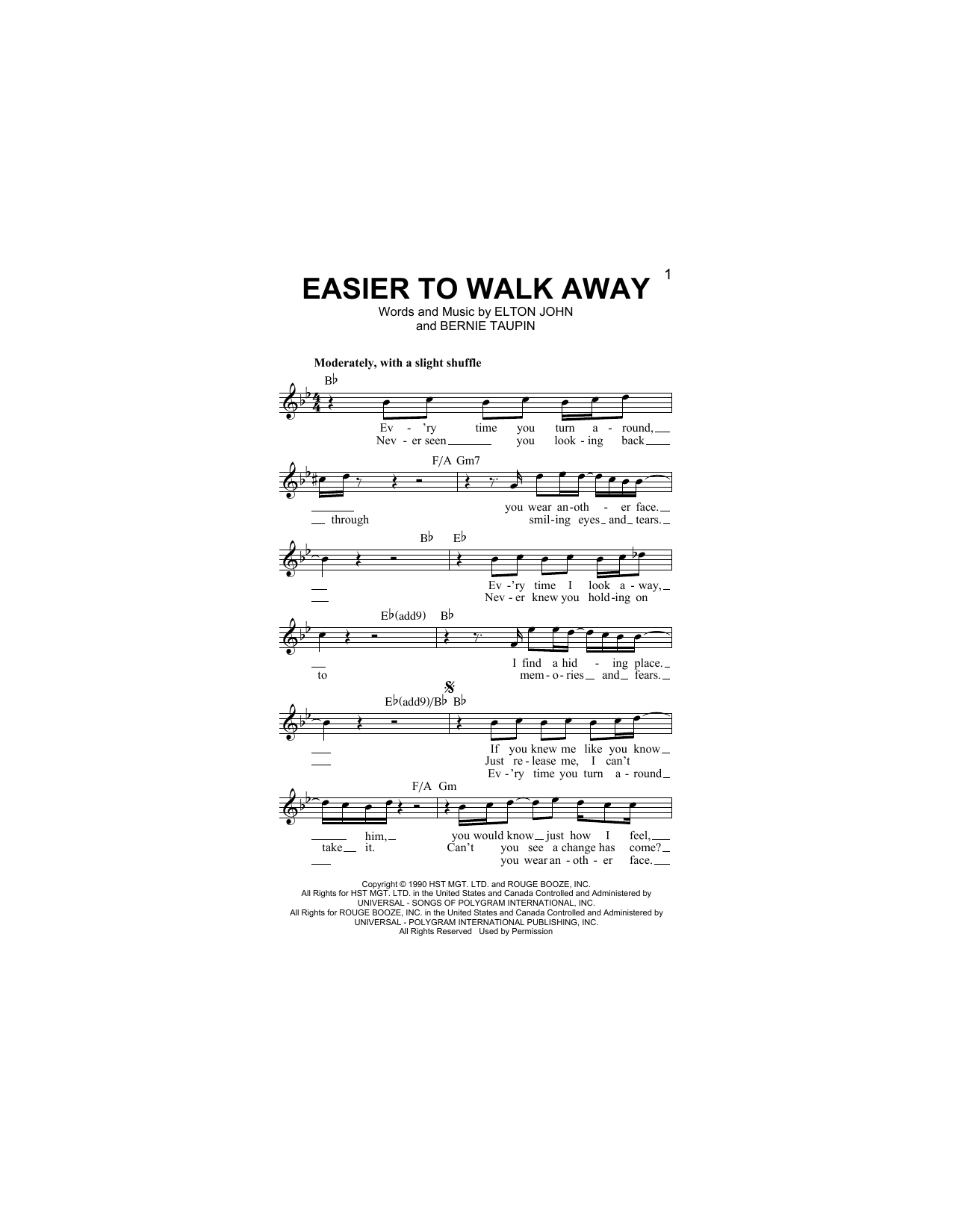 Easier To Walk Away Sheet Music