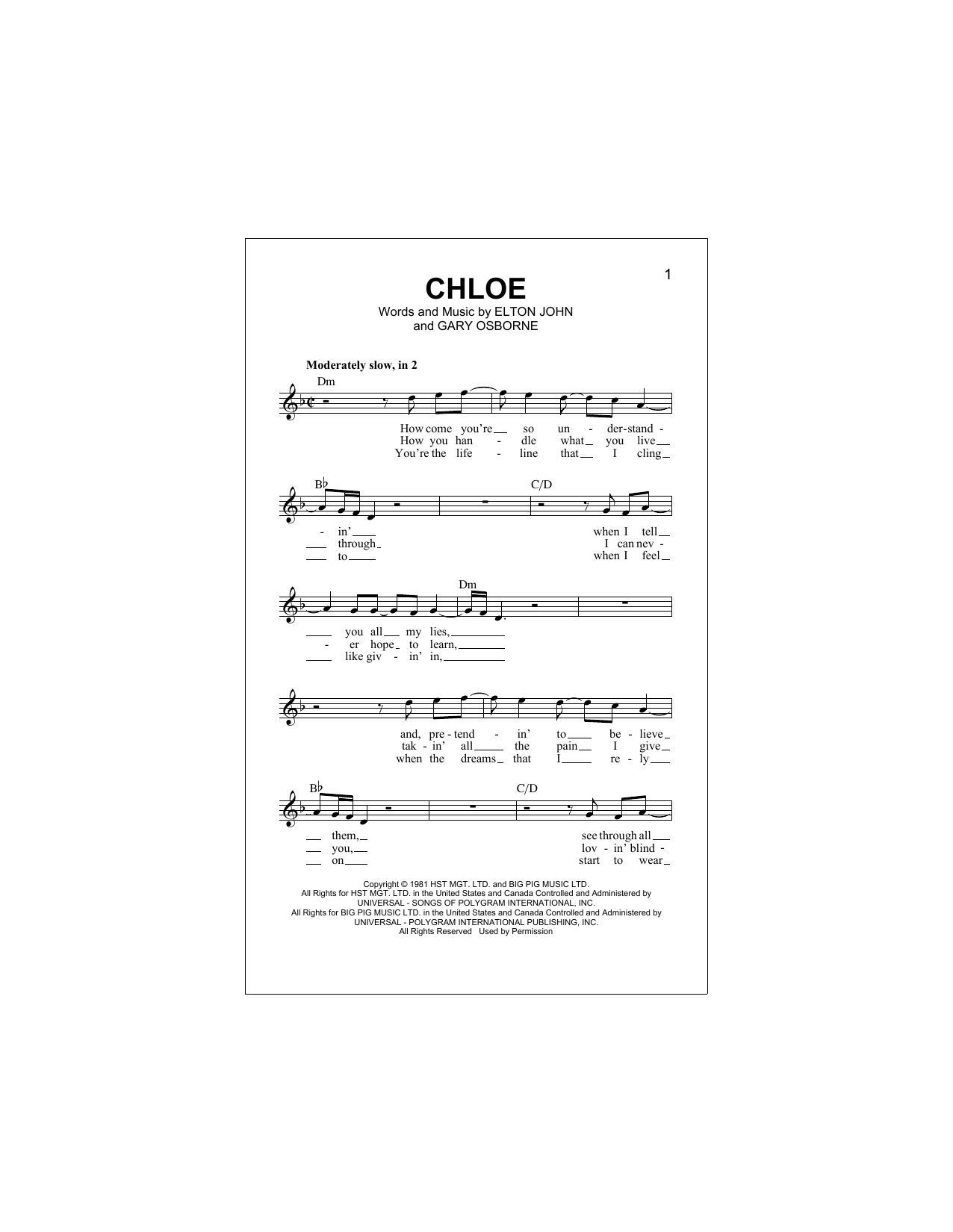 Chloe (Lead Sheet / Fake Book)