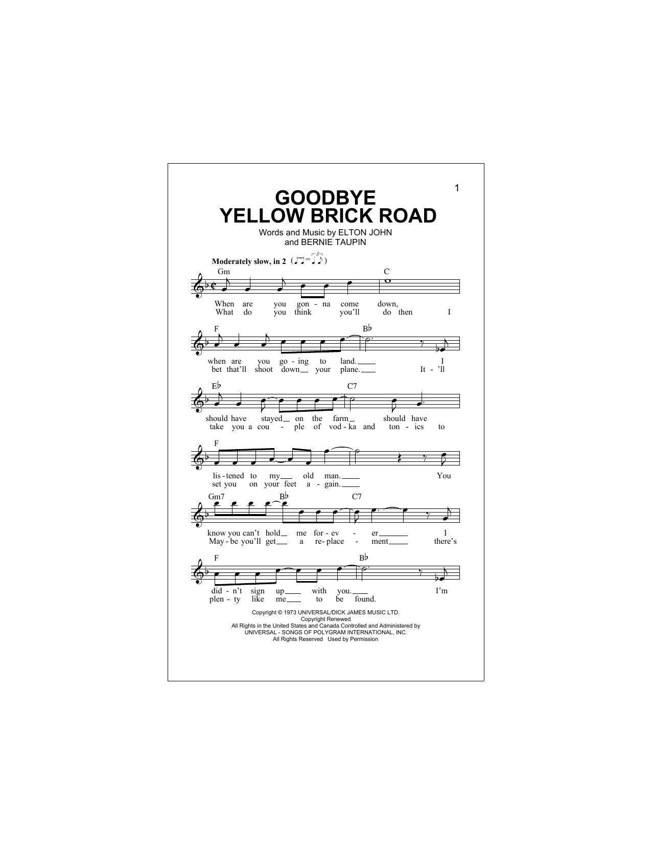Goodbye Yellow Brick Road (Lead Sheet / Fake Book)