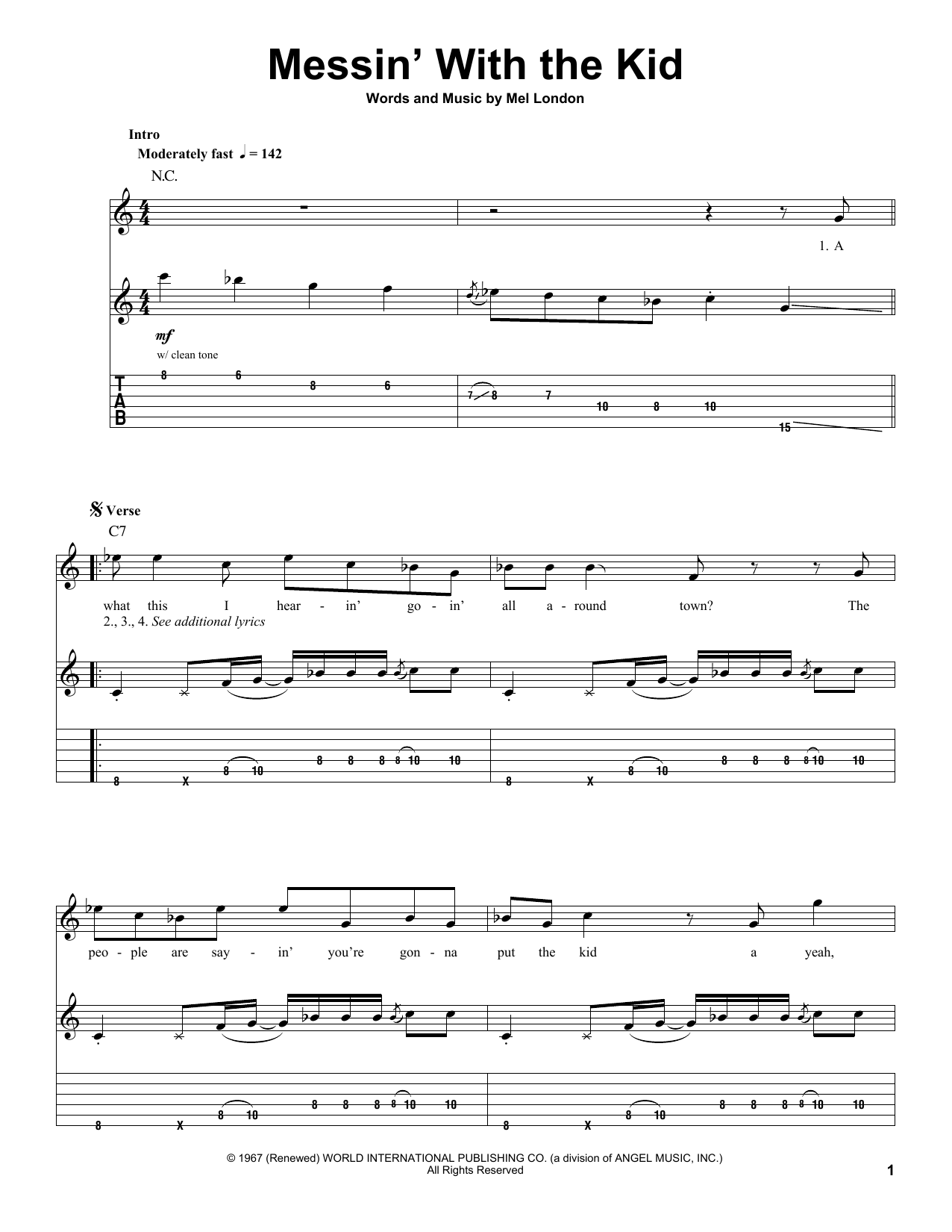 Messin' With The Kid (Guitar Tab (Single Guitar))