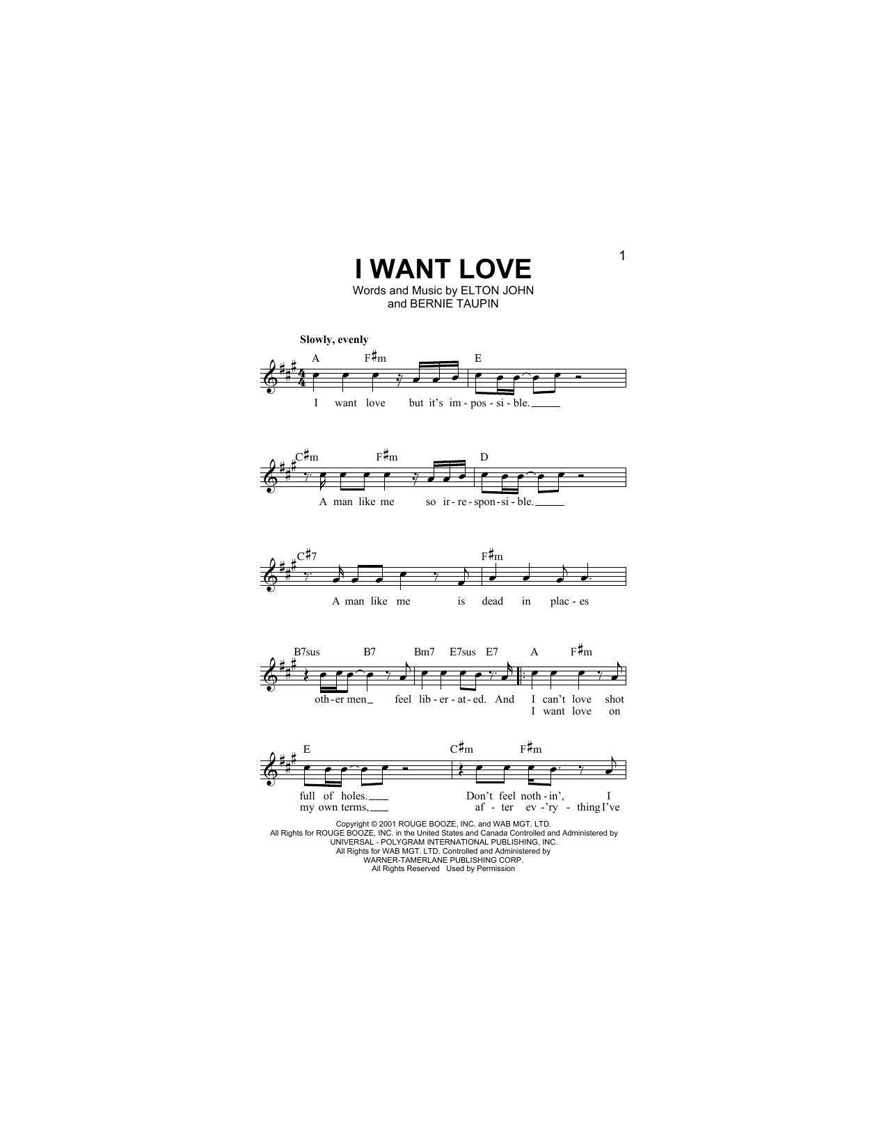 I Want Love Sheet Music