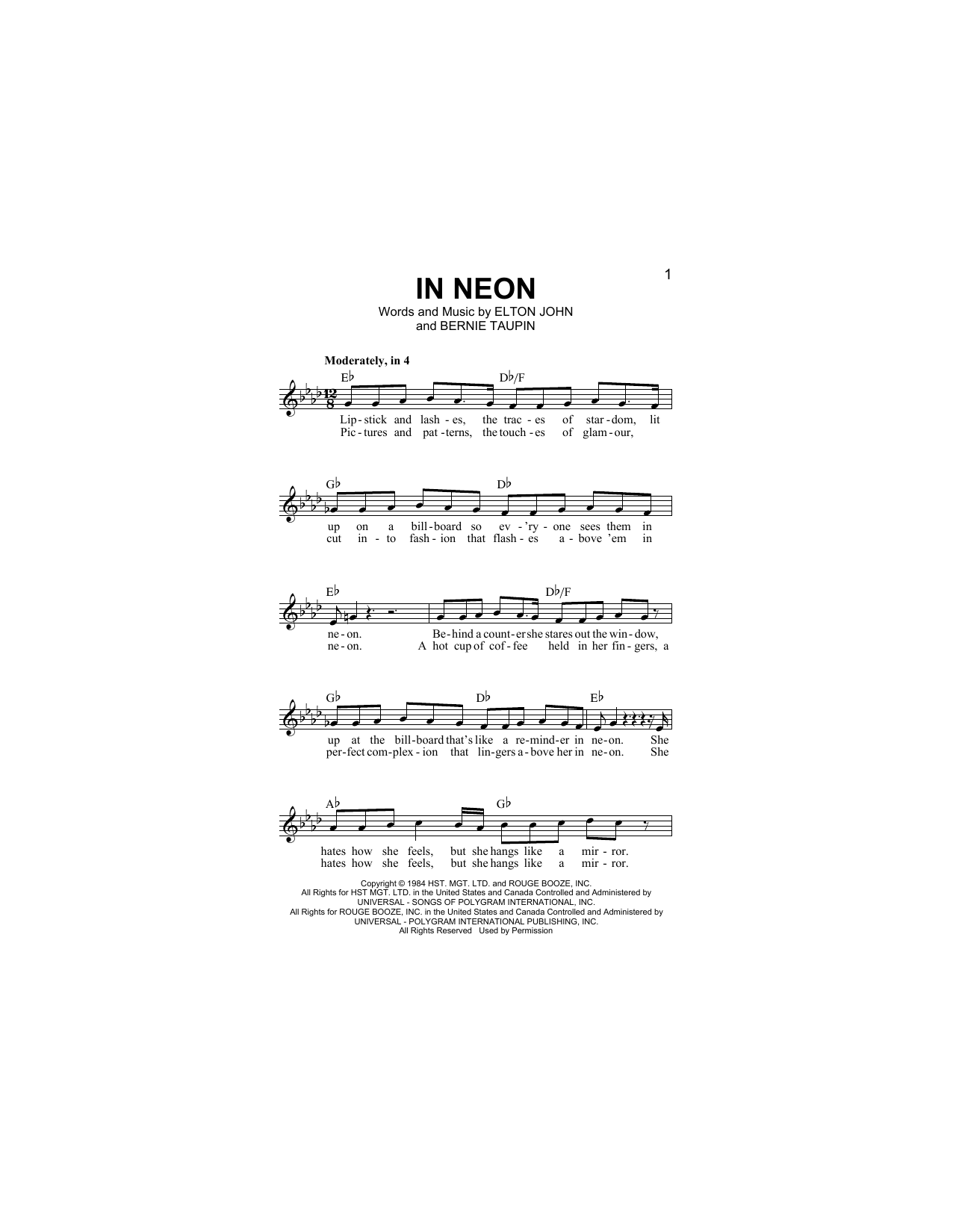 In Neon (Lead Sheet / Fake Book)