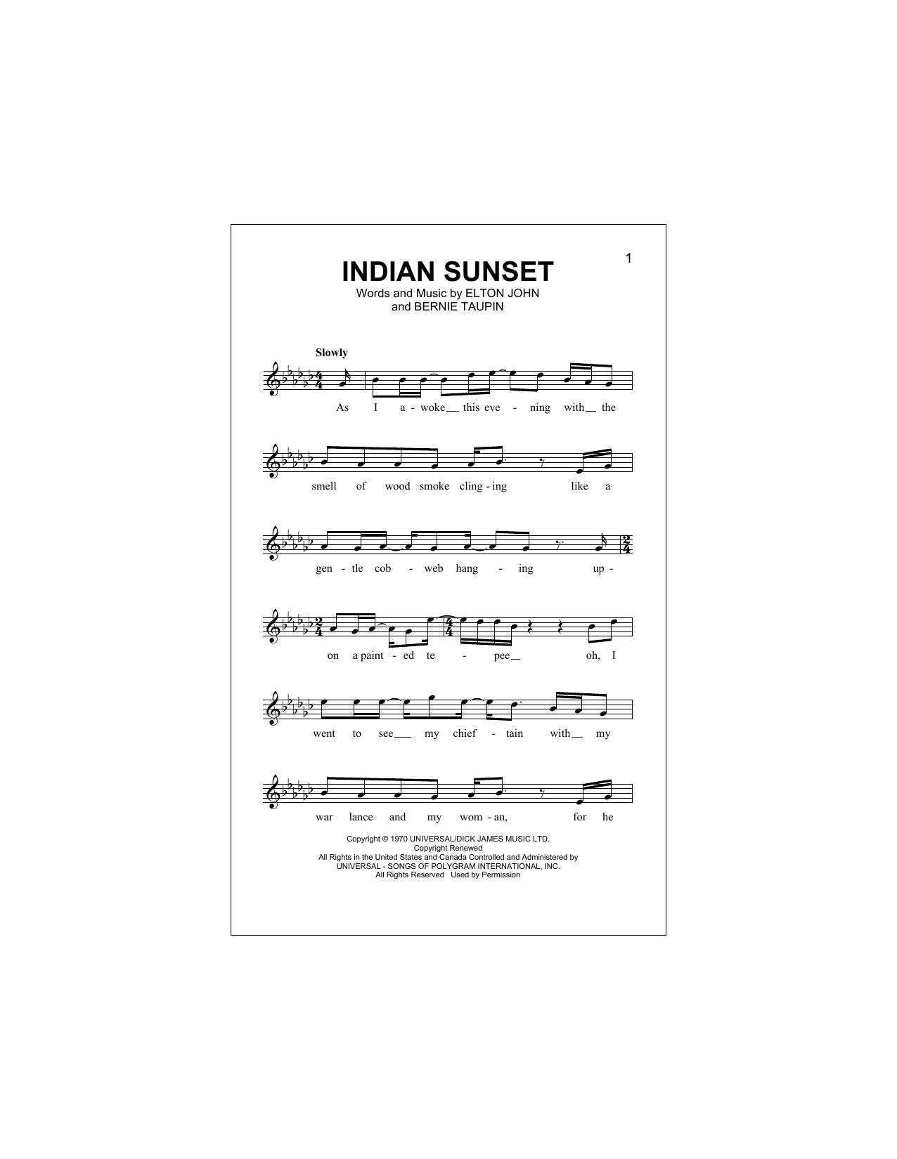 Indian Sunset Sheet Music