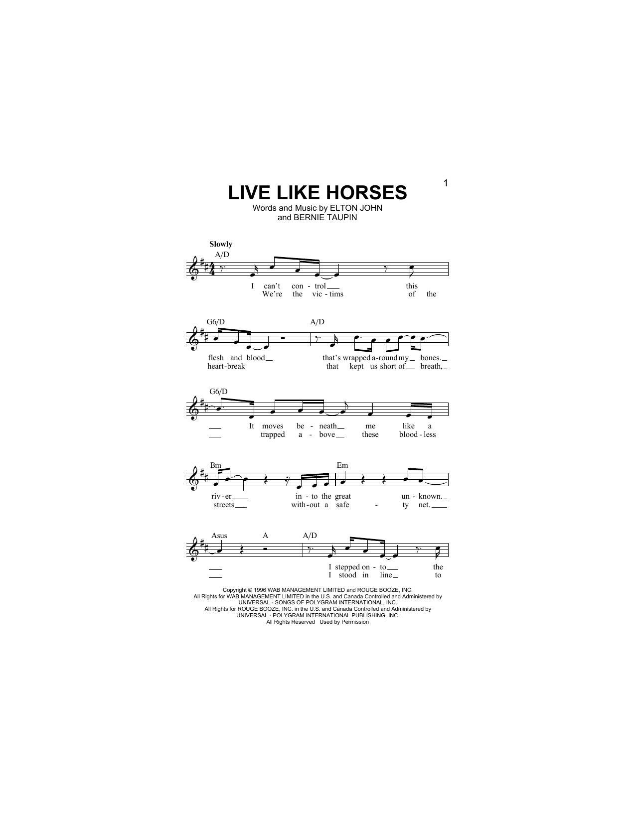 Live Like Horses (Lead Sheet / Fake Book)