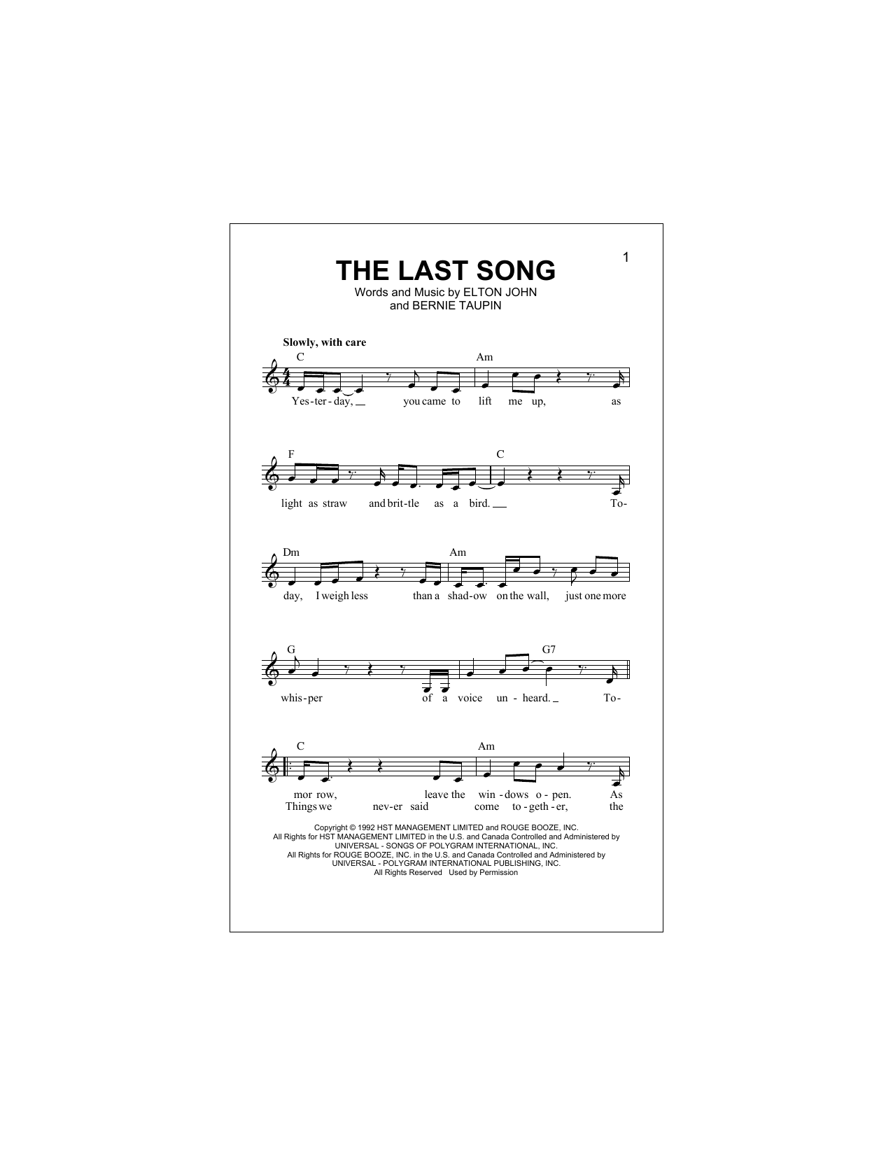 The Last Song (Lead Sheet / Fake Book)