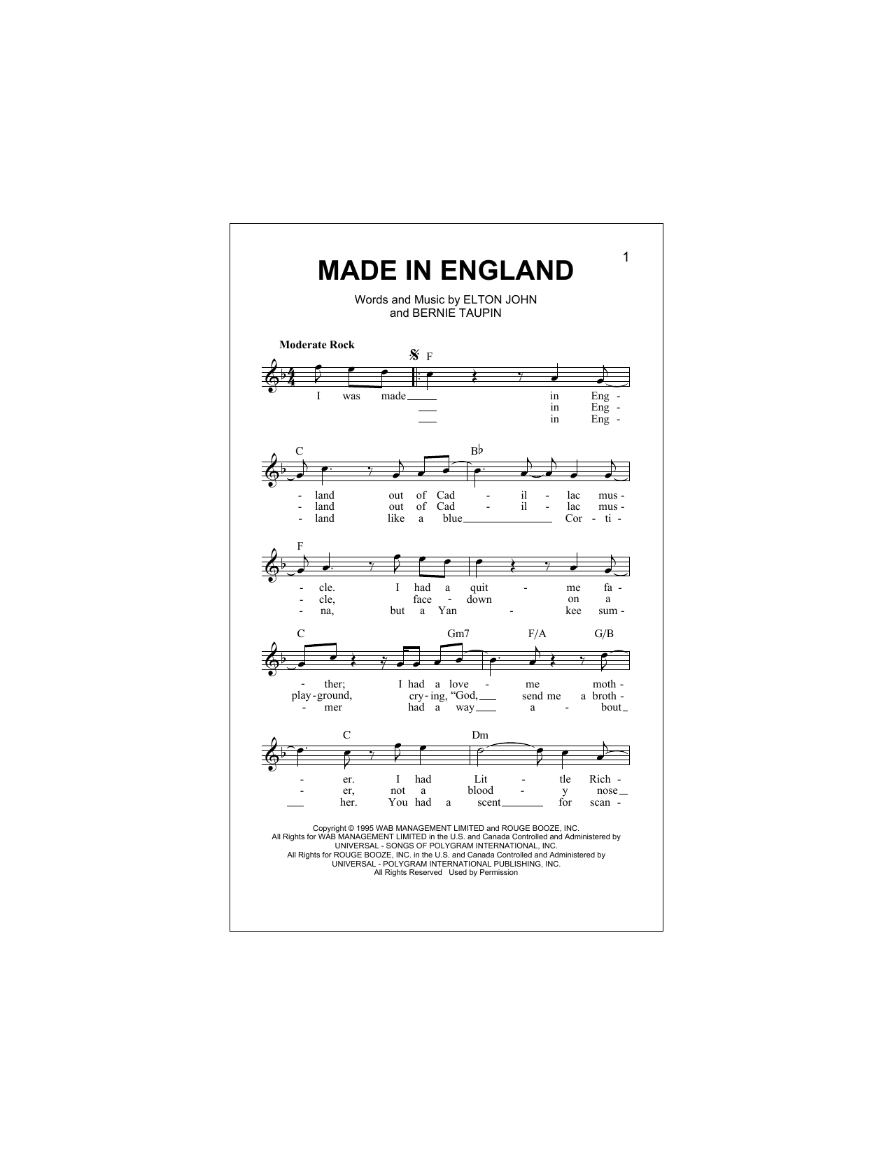 Made In England (Lead Sheet / Fake Book)