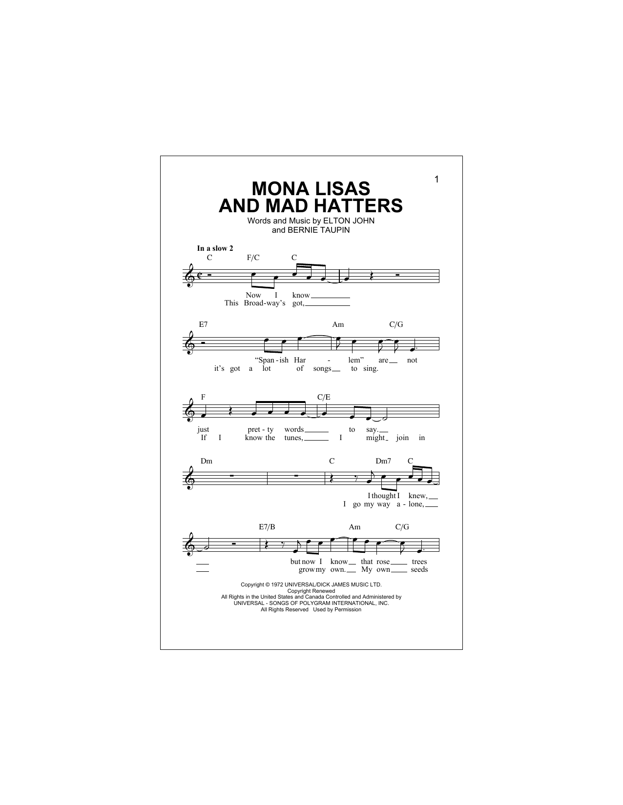Mona Lisas And Mad Hatters Sheet Music