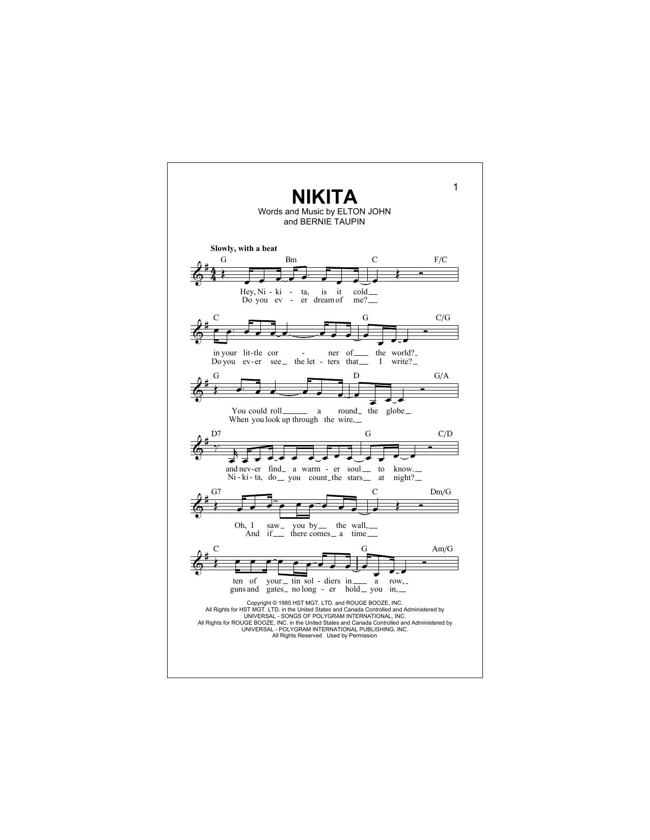 Nikita Sheet Music