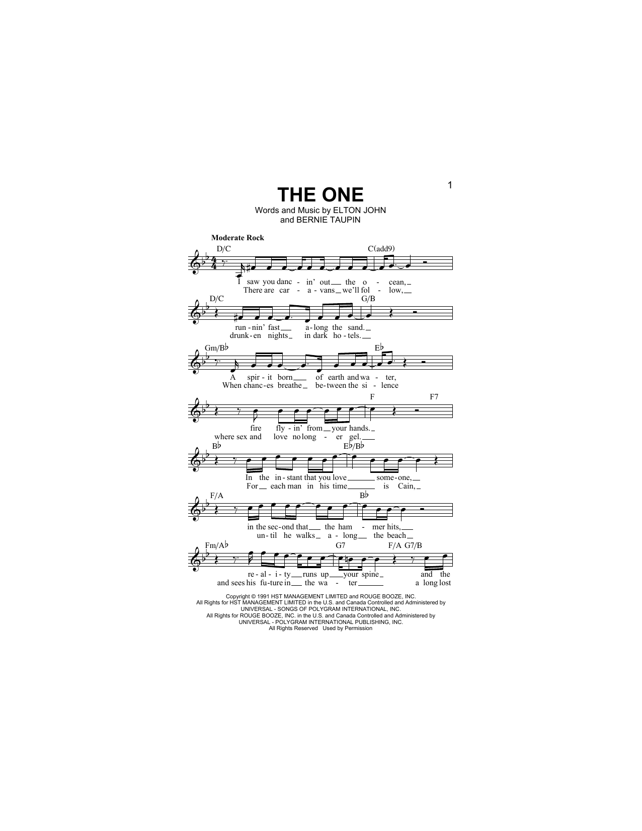The One Sheet Music