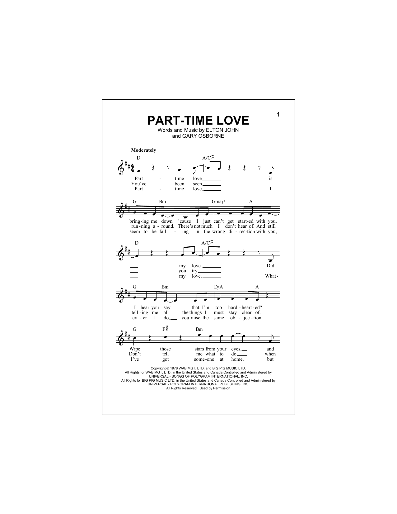 Part-Time Love Sheet Music