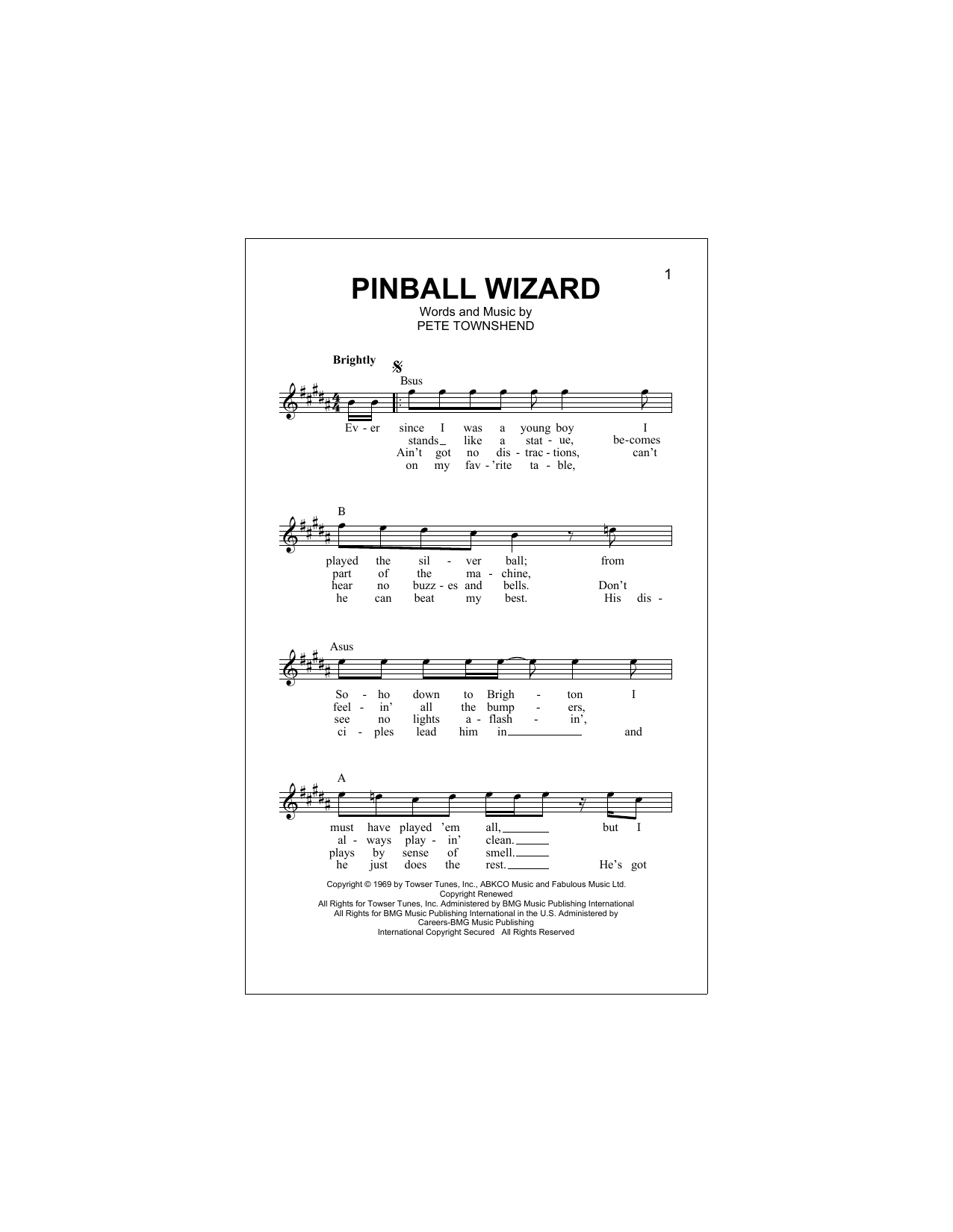Pinball Wizard (Lead Sheet / Fake Book)