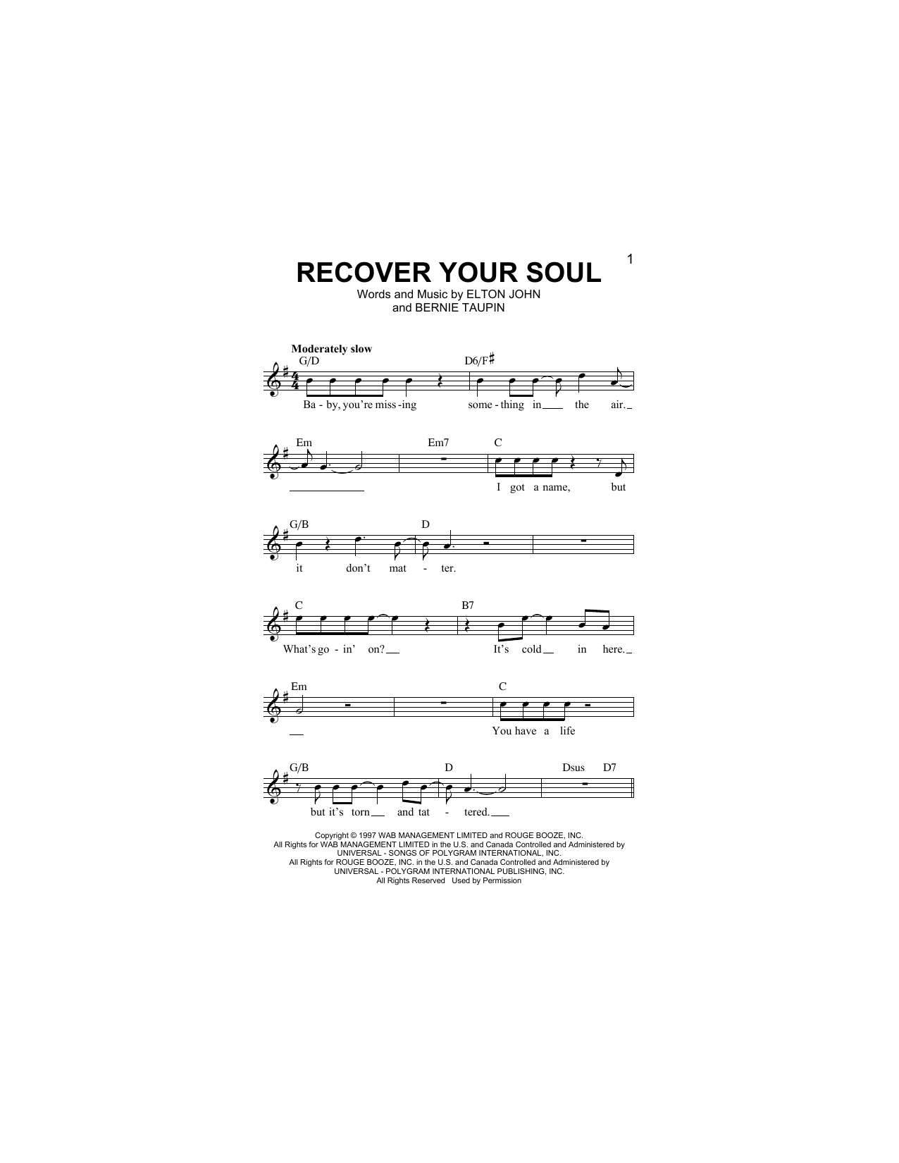 Recover Your Soul Sheet Music