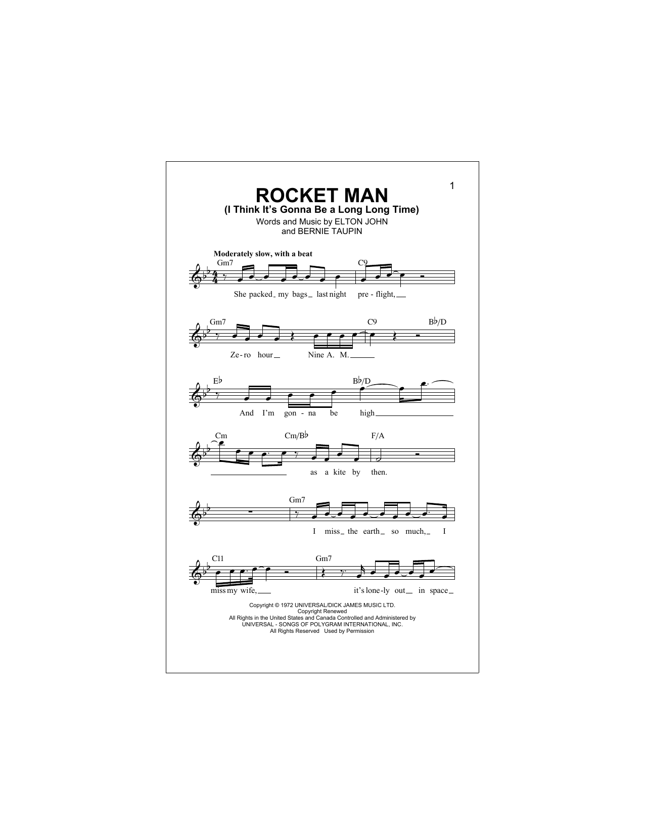 Rocket Man (I Think It's Gonna Be A Long Long Time) Sheet Music