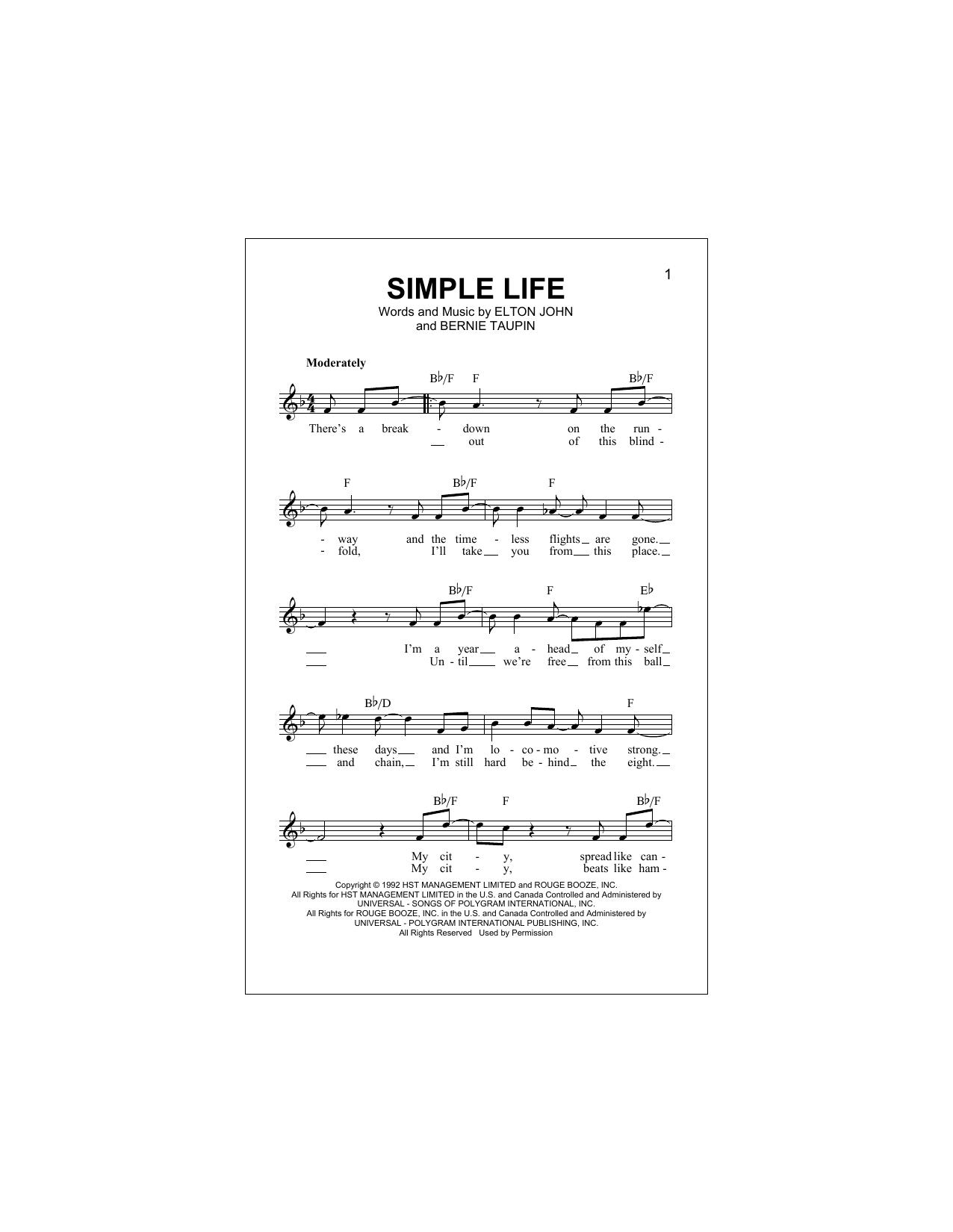 Simple Life Sheet Music