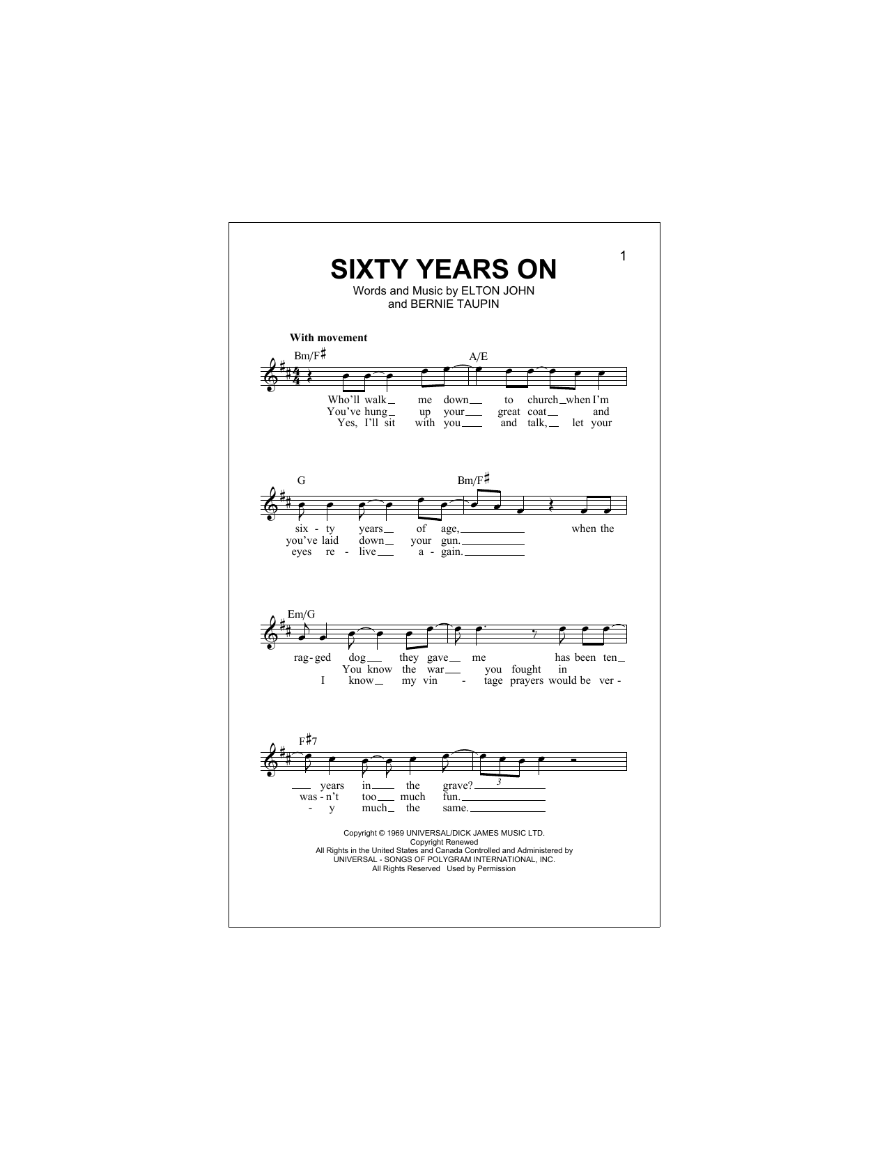 Sixty Years On Sheet Music