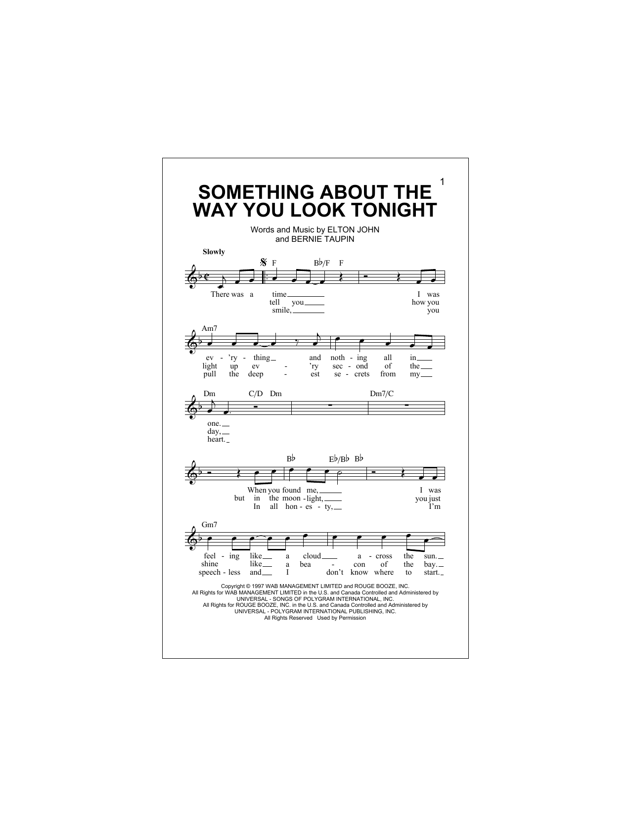 Something About The Way You Look Tonight (Lead Sheet / Fake Book)
