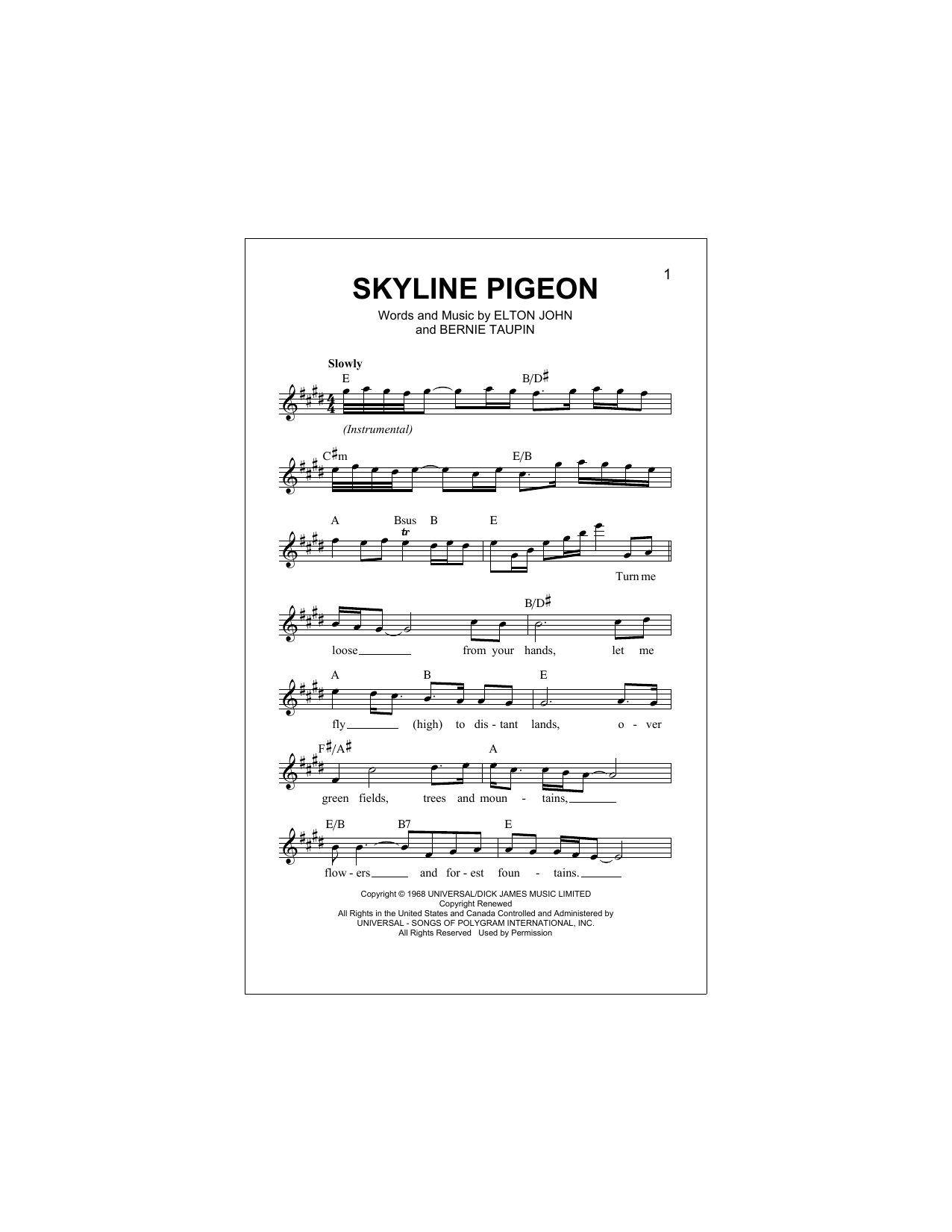 Skyline Pigeon Sheet Music