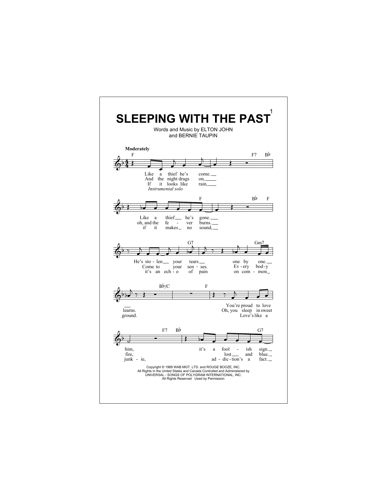 Sleeping With The Past Sheet Music