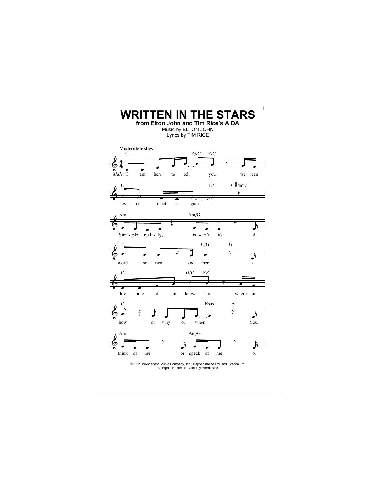 Written In The Stars (Lead Sheet / Fake Book)