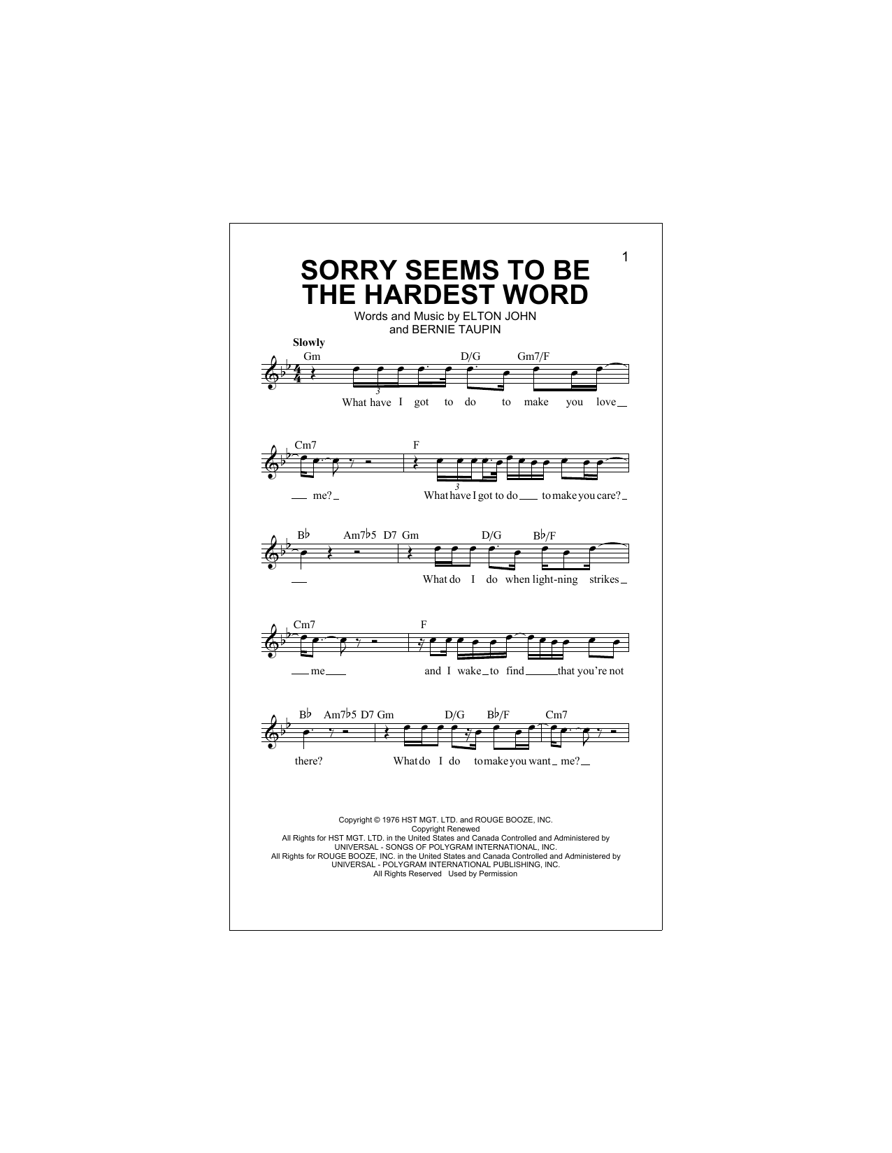 Sorry Seems To Be The Hardest Word Sheet Music