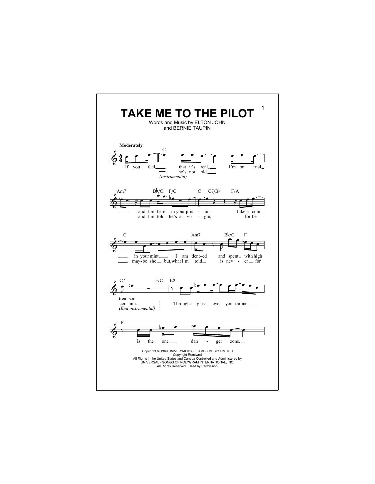 Take Me To The Pilot Sheet Music