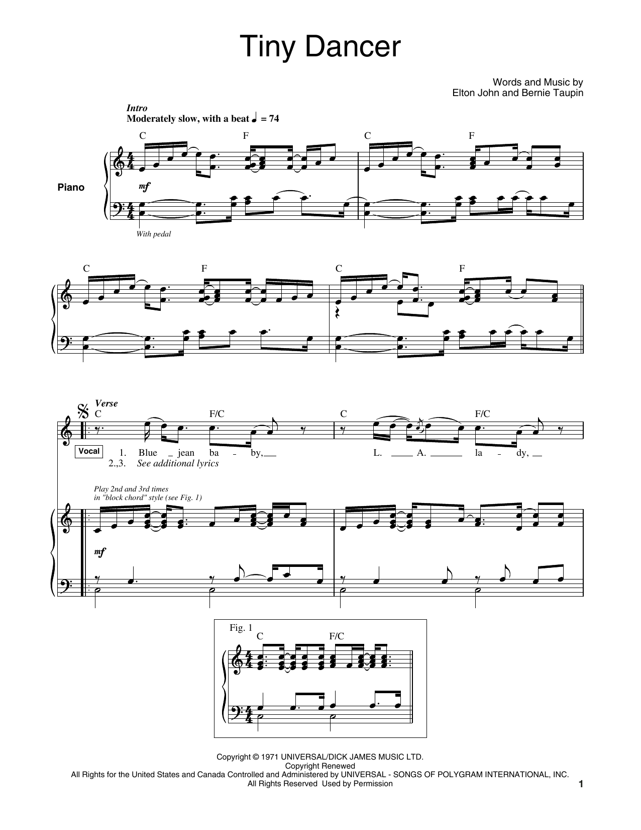 Tiny Dancer Sheet Music