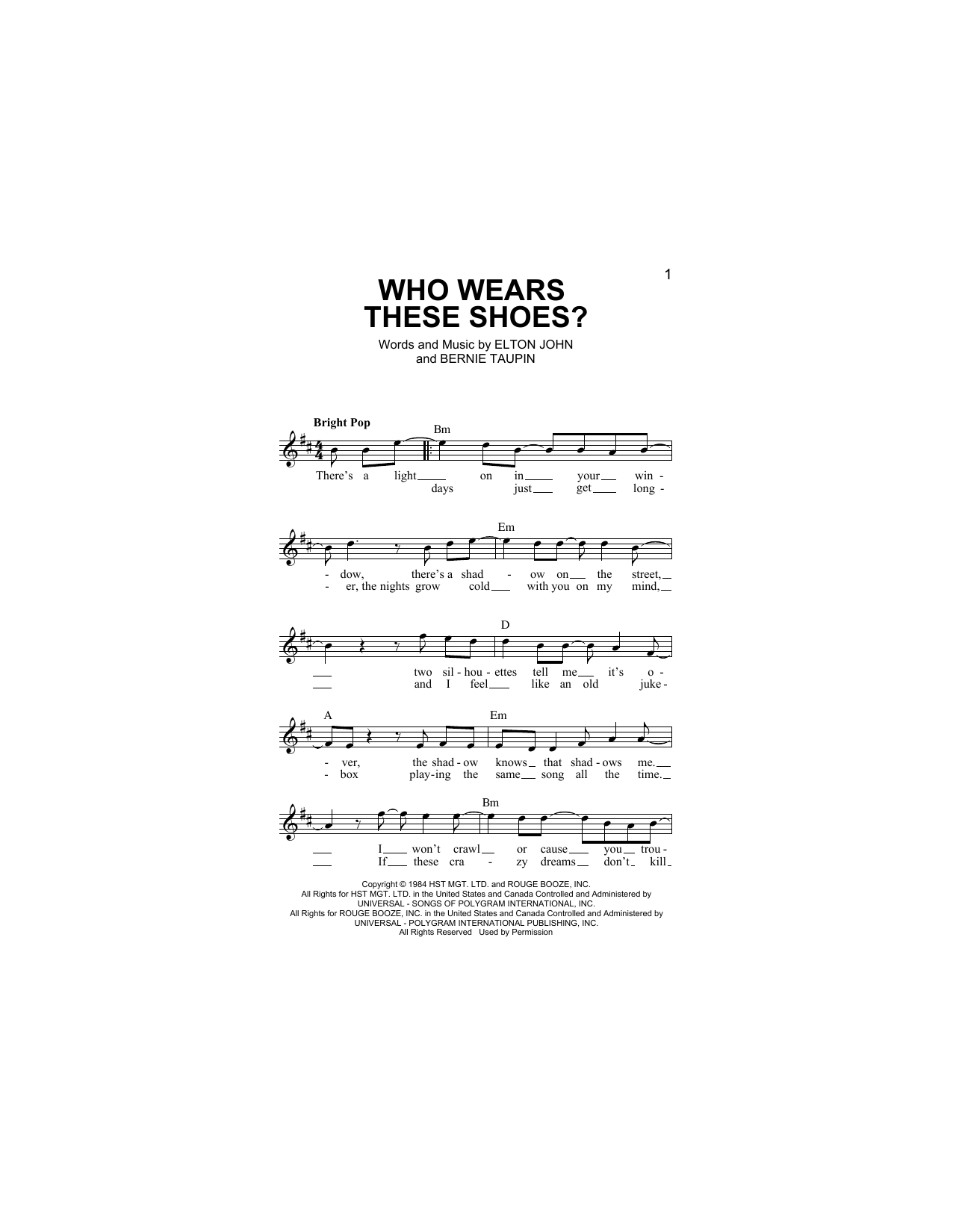 Who Wears These Shoes? (Lead Sheet / Fake Book)