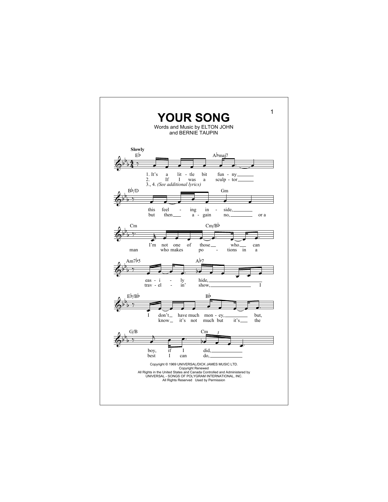 Your Song (Lead Sheet / Fake Book)