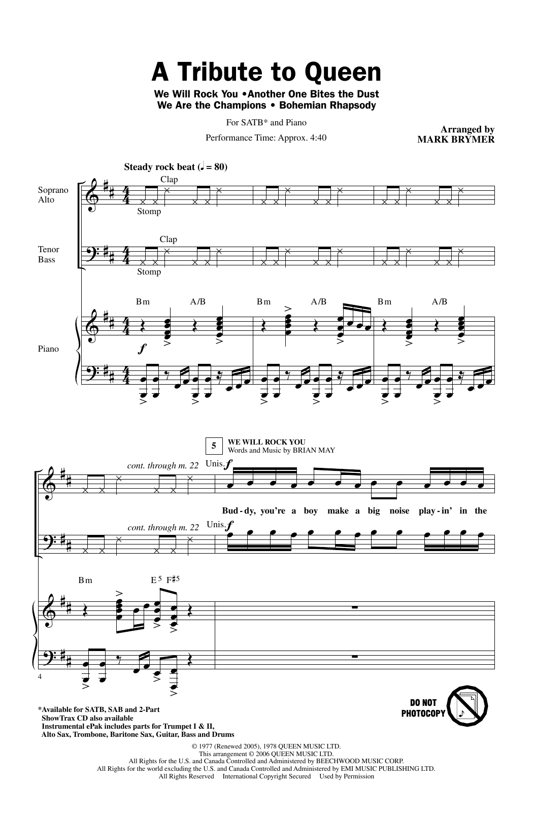 Partition chorale A Tribute To Queen (Medley) (arr. Mark Brymer) de Queen - SATB