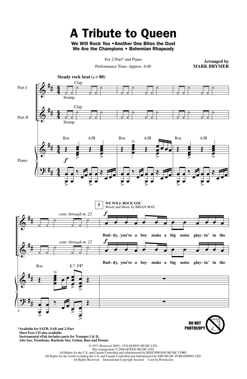 A Tribute To Queen (Medley) (arr. Mark Brymer) (2-Part Choir)
