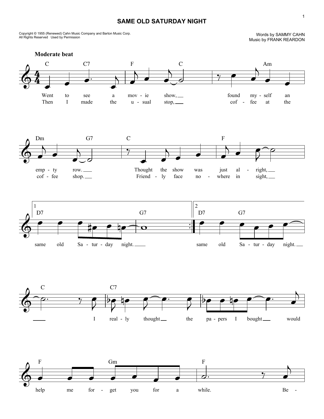 Same Old Saturday Night (Melody Line, Lyrics & Chords)