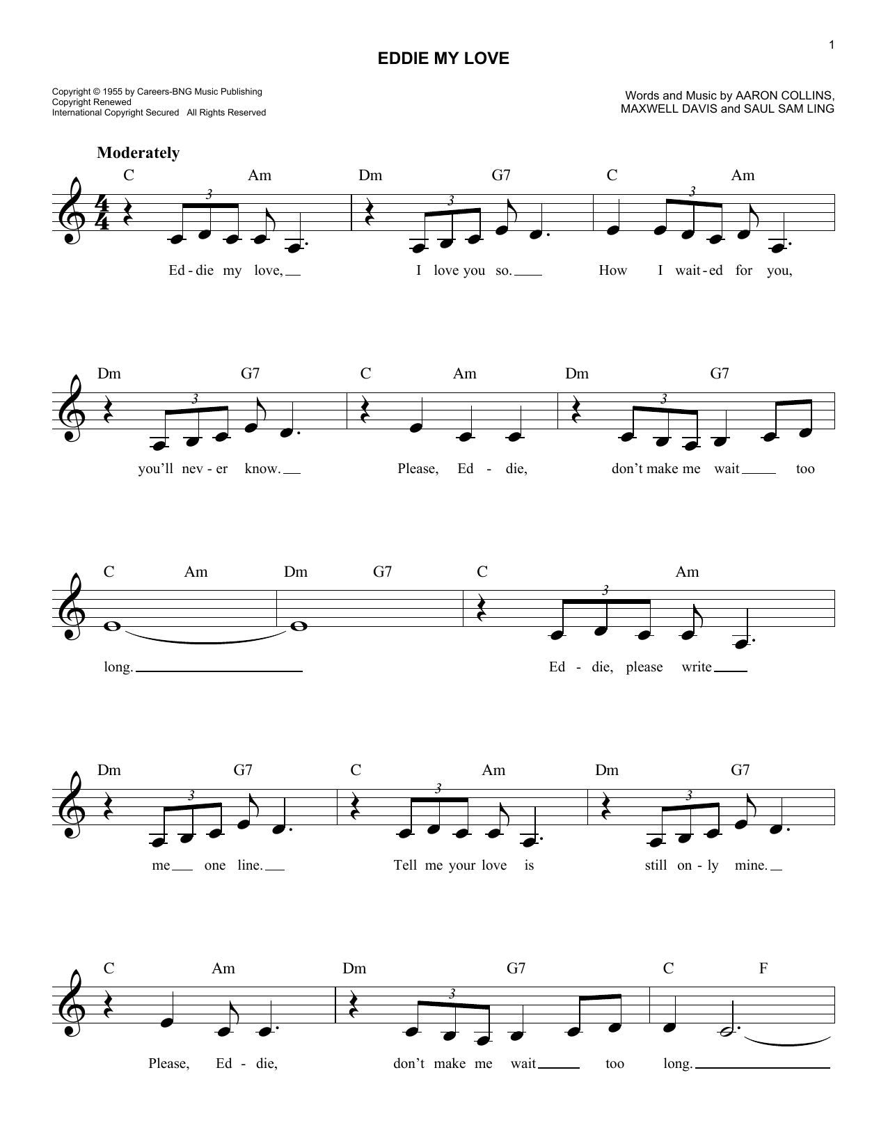 Eddie My Love Sheet Music
