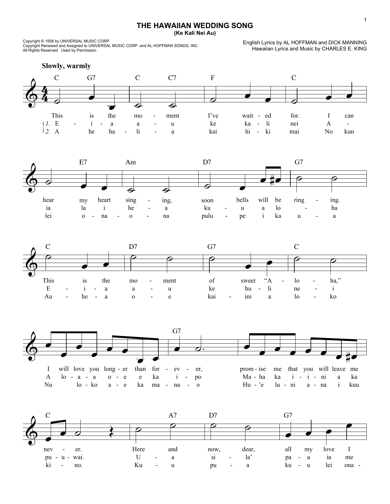 The Hawaiian Wedding Song (Ke Kali Nei Au) Sheet Music