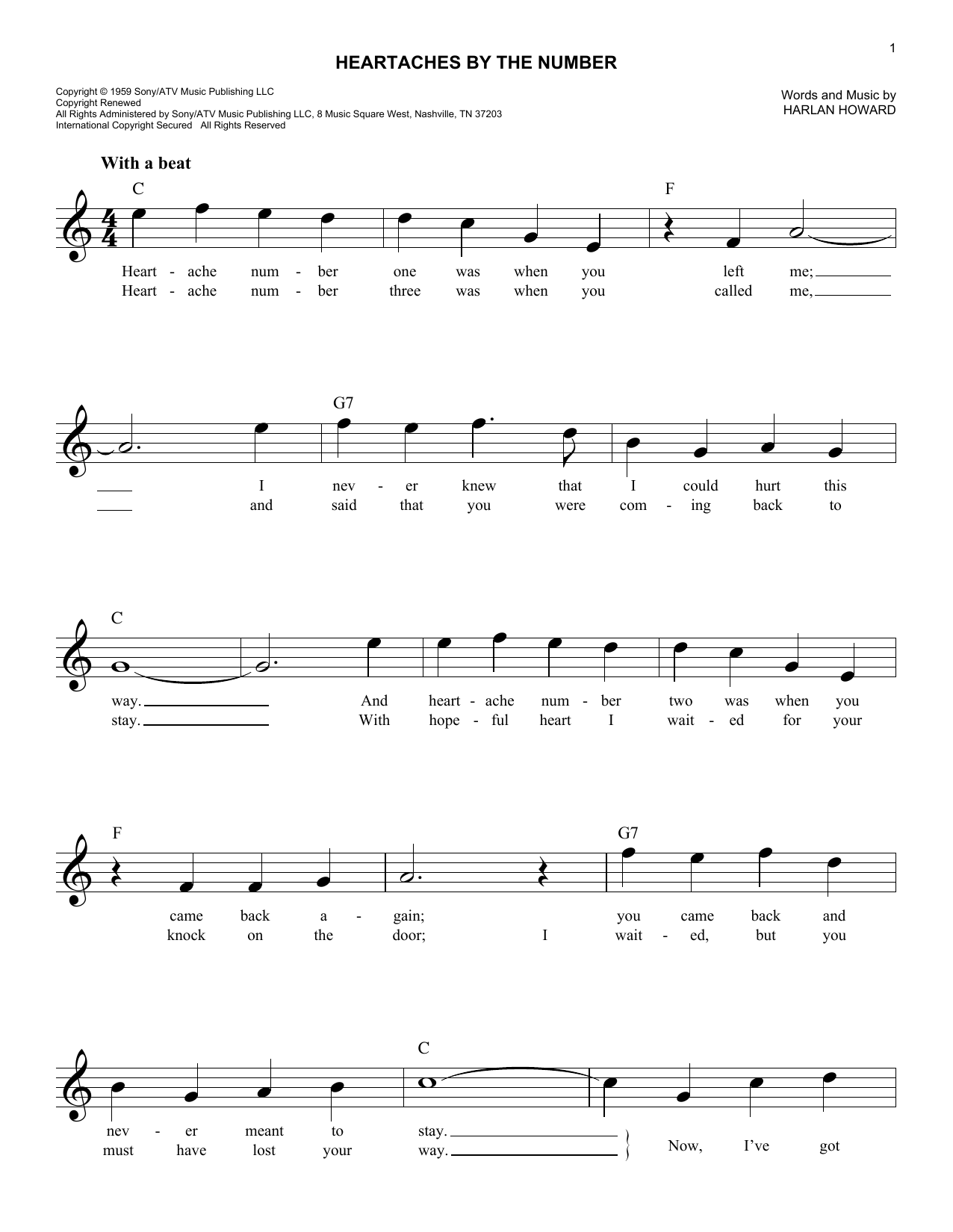 Heartaches By The Number (Lead Sheet / Fake Book)
