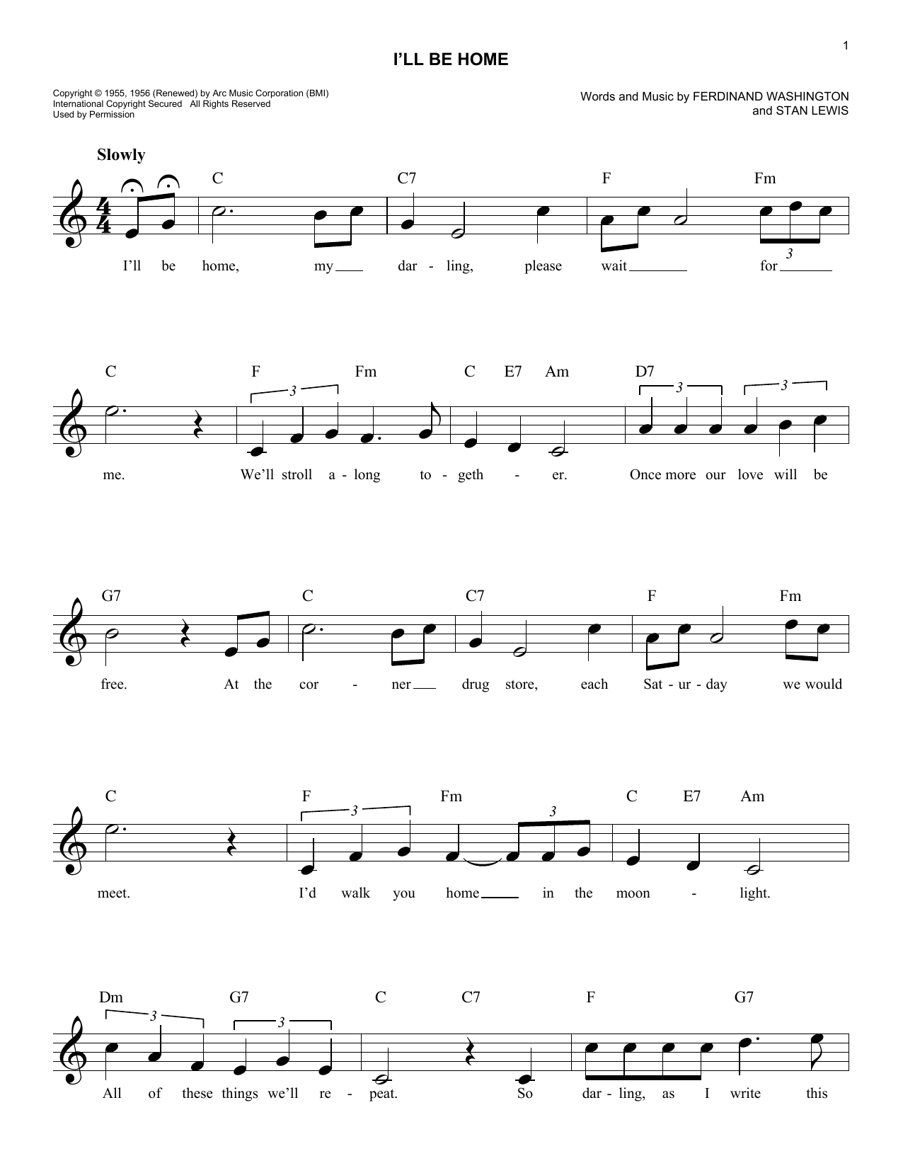 I'll Be Home Sheet Music