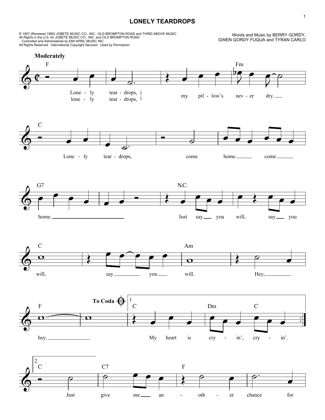 Lonely Teardrops Sheet Music