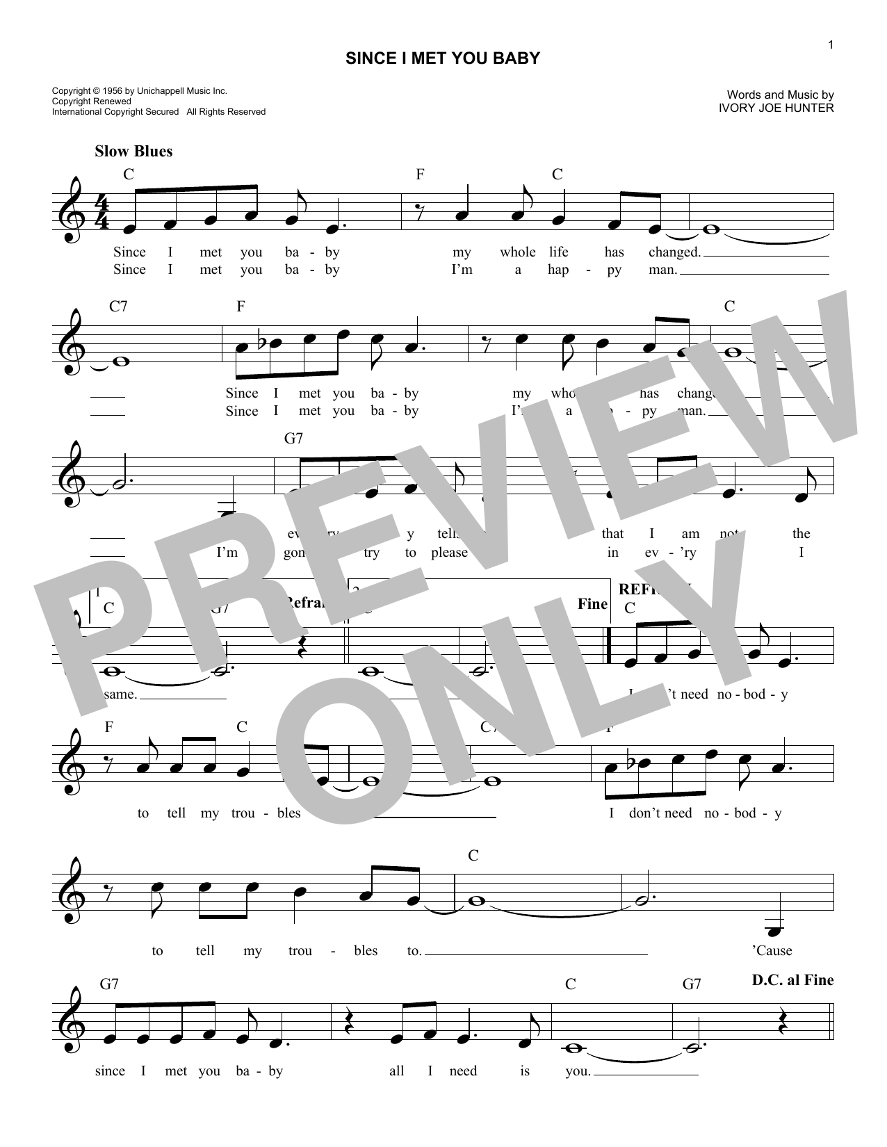 Since I Met You Baby Sheet Music