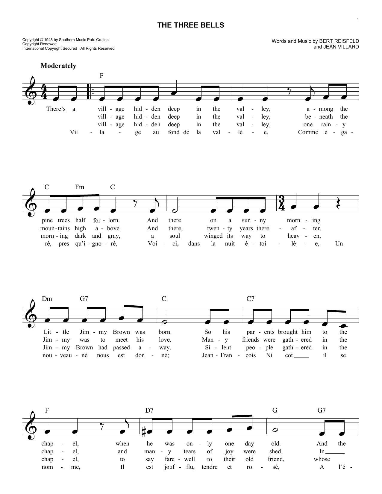 The Three Bells Sheet Music