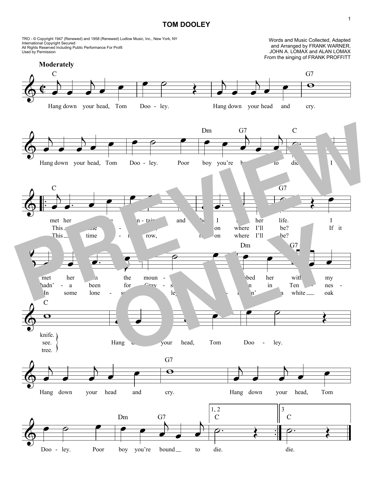Tom Dooley Sheet Music