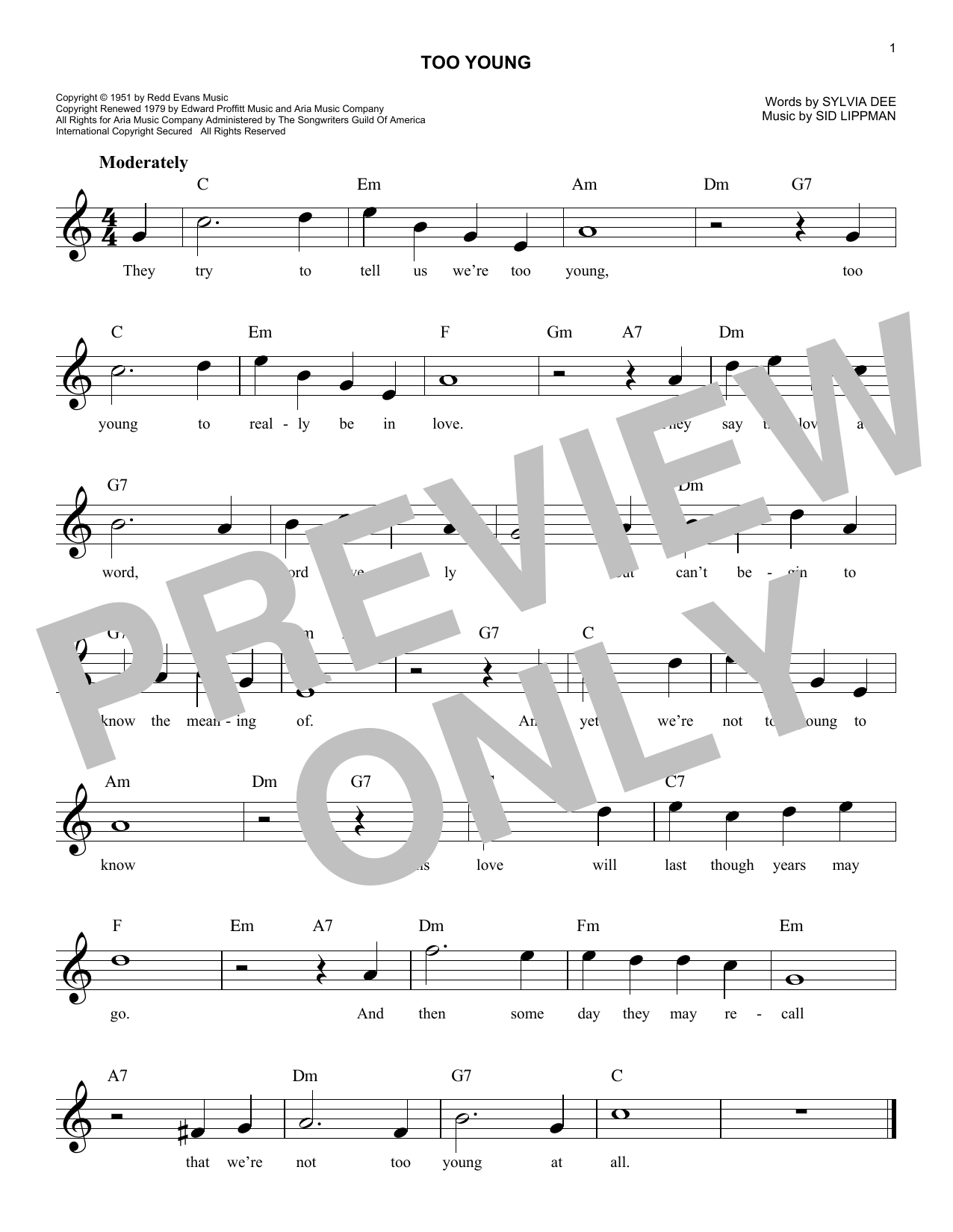 Too Young (Lead Sheet / Fake Book)